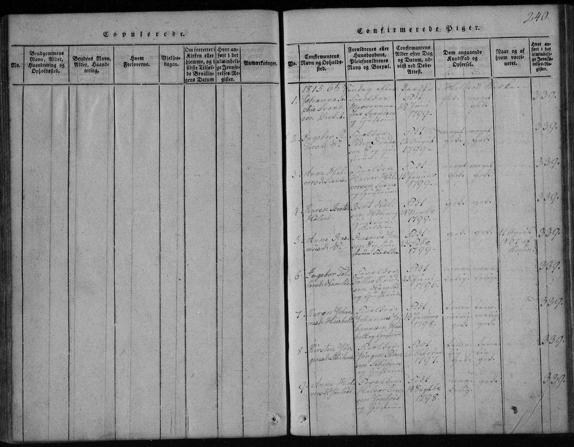 SAKO, Holla kirkebøker, F/Fa/L0003: Ministerialbok nr. 3, 1815-1830, s. 240