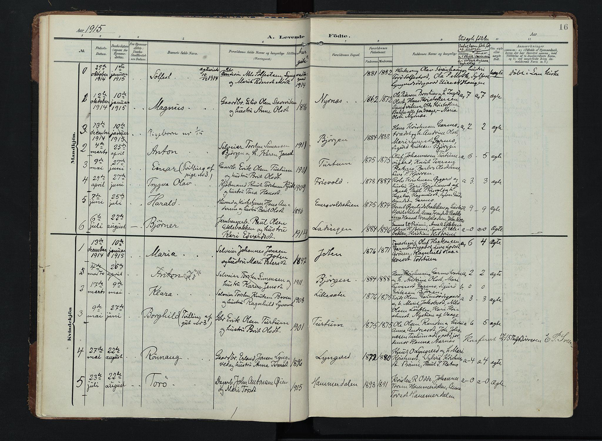 SAH, Lom prestekontor, K/L0011: Ministerialbok nr. 11, 1904-1928, s. 16