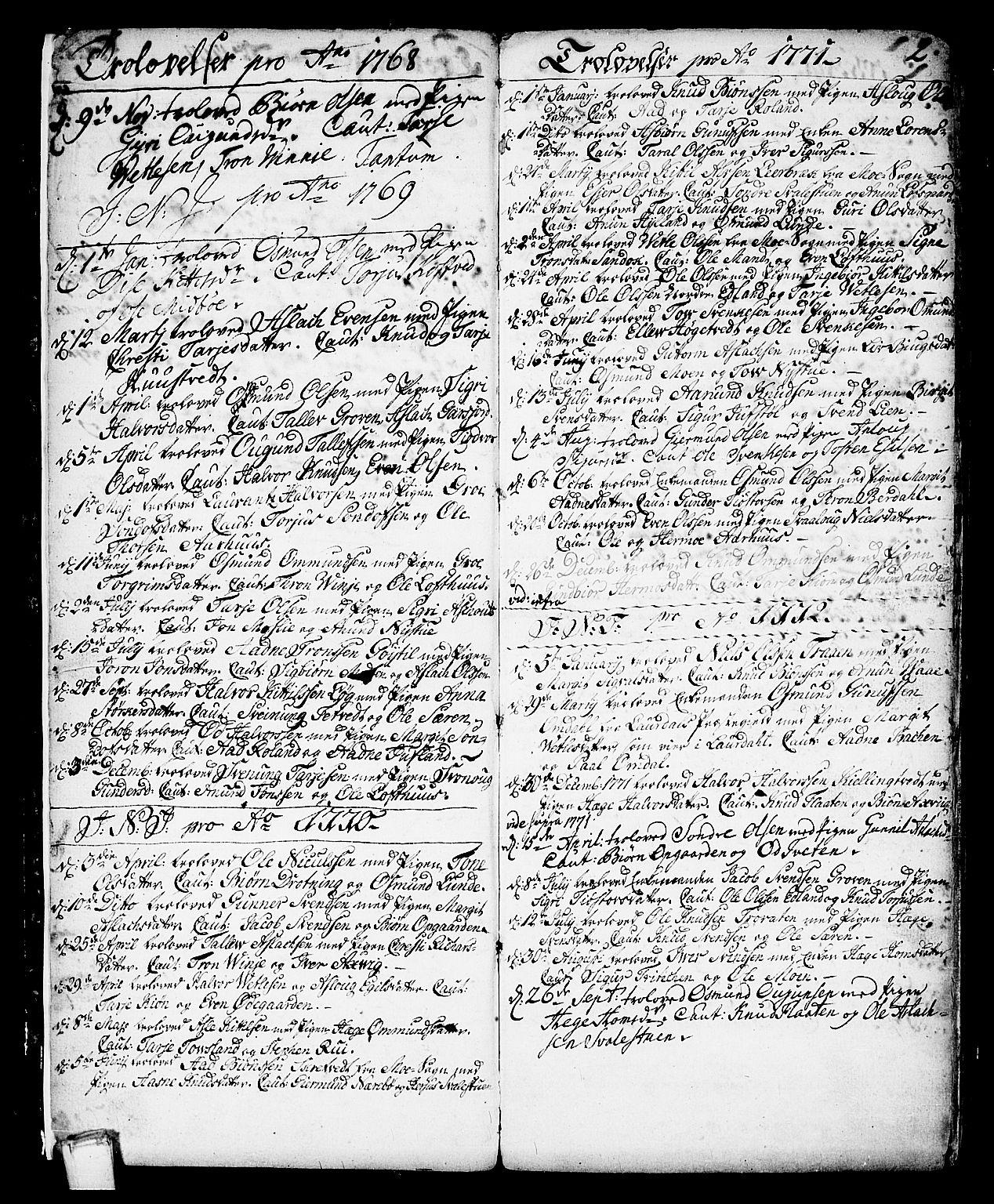 SAKO, Vinje kirkebøker, F/Fa/L0002: Ministerialbok nr. I 2, 1767-1814, s. 2