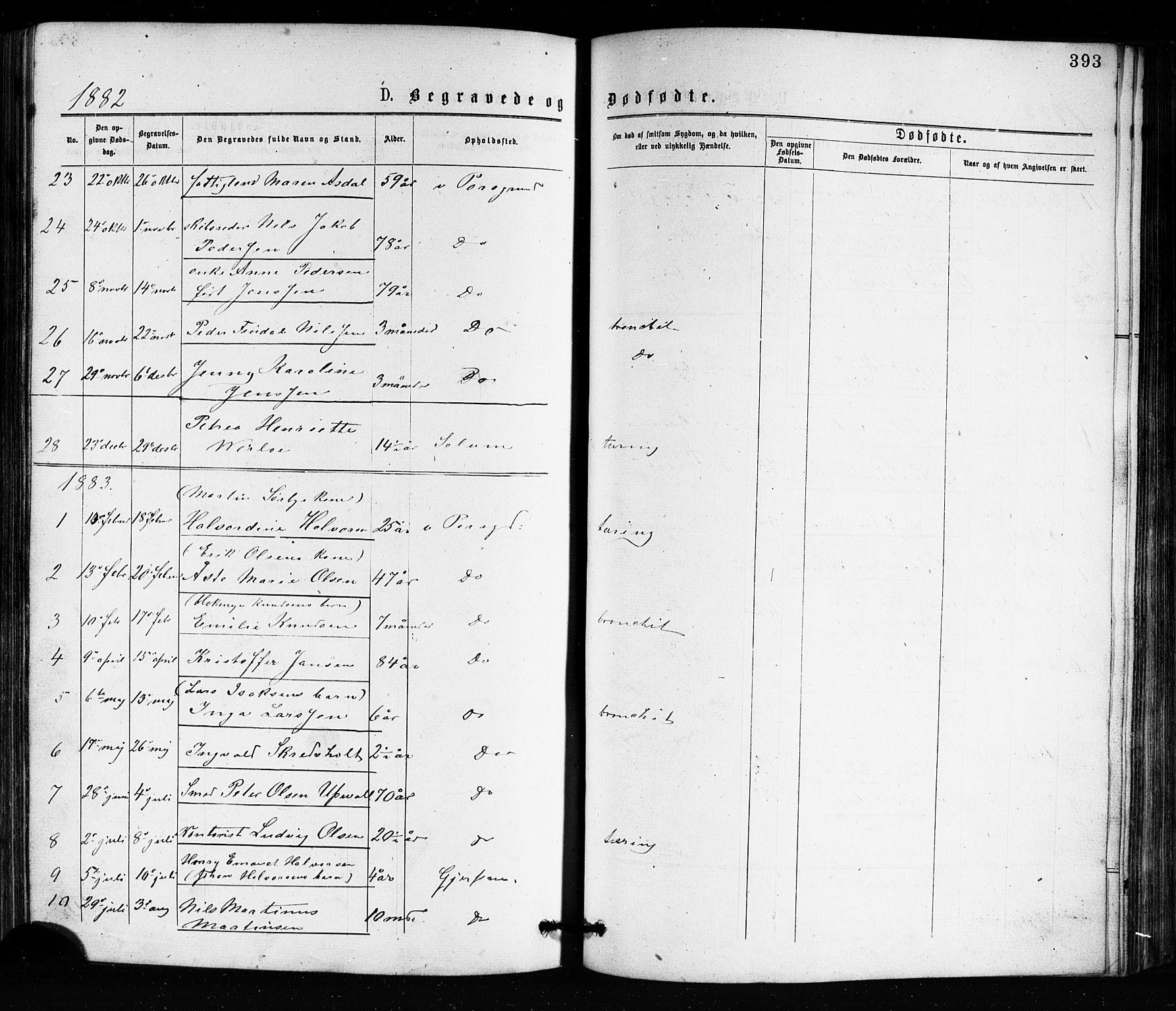 SAKO, Porsgrunn kirkebøker , G/Ga/L0003: Klokkerbok nr. I 3, 1877-1915, s. 393