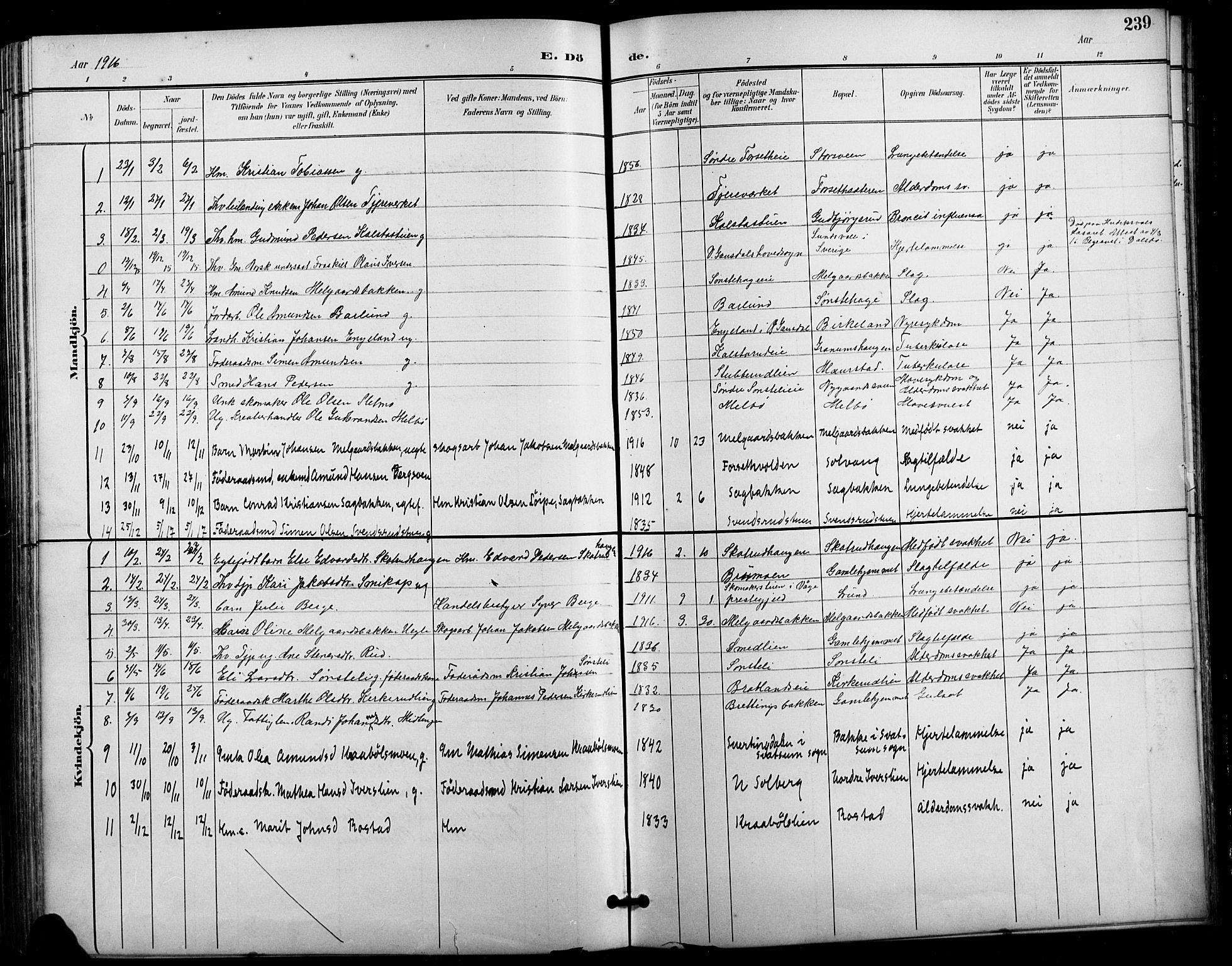 SAH, Vestre Gausdal prestekontor, Klokkerbok nr. 3, 1896-1925, s. 239