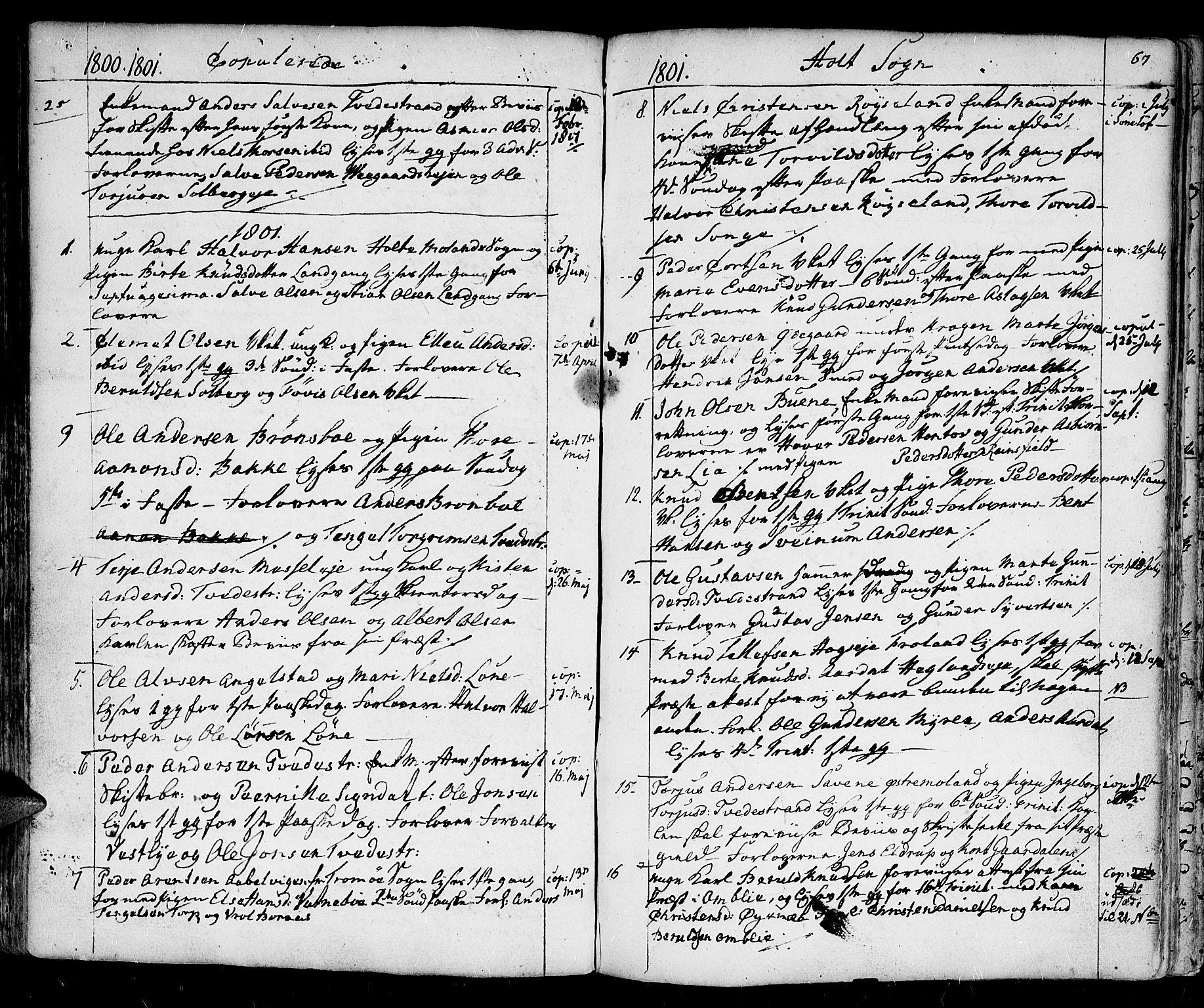 SAK, Holt sokneprestkontor, F/Fa/L0004: Ministerialbok nr. A 4, 1799-1813, s. 67