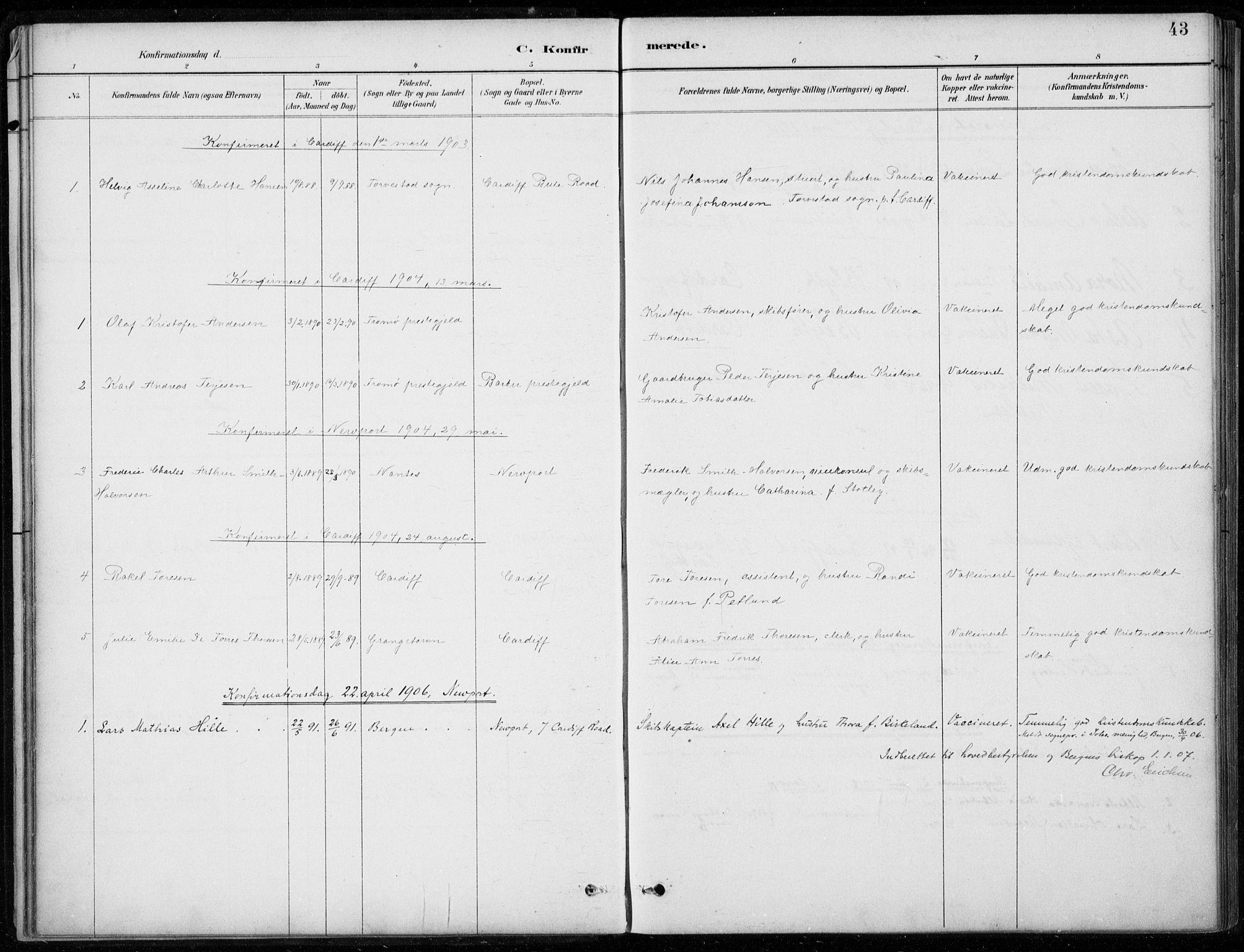 SAB, Den Norske Sjømannsmisjon i utlandet*, Ministerialbok nr. A 2, 1887-1932, s. 43