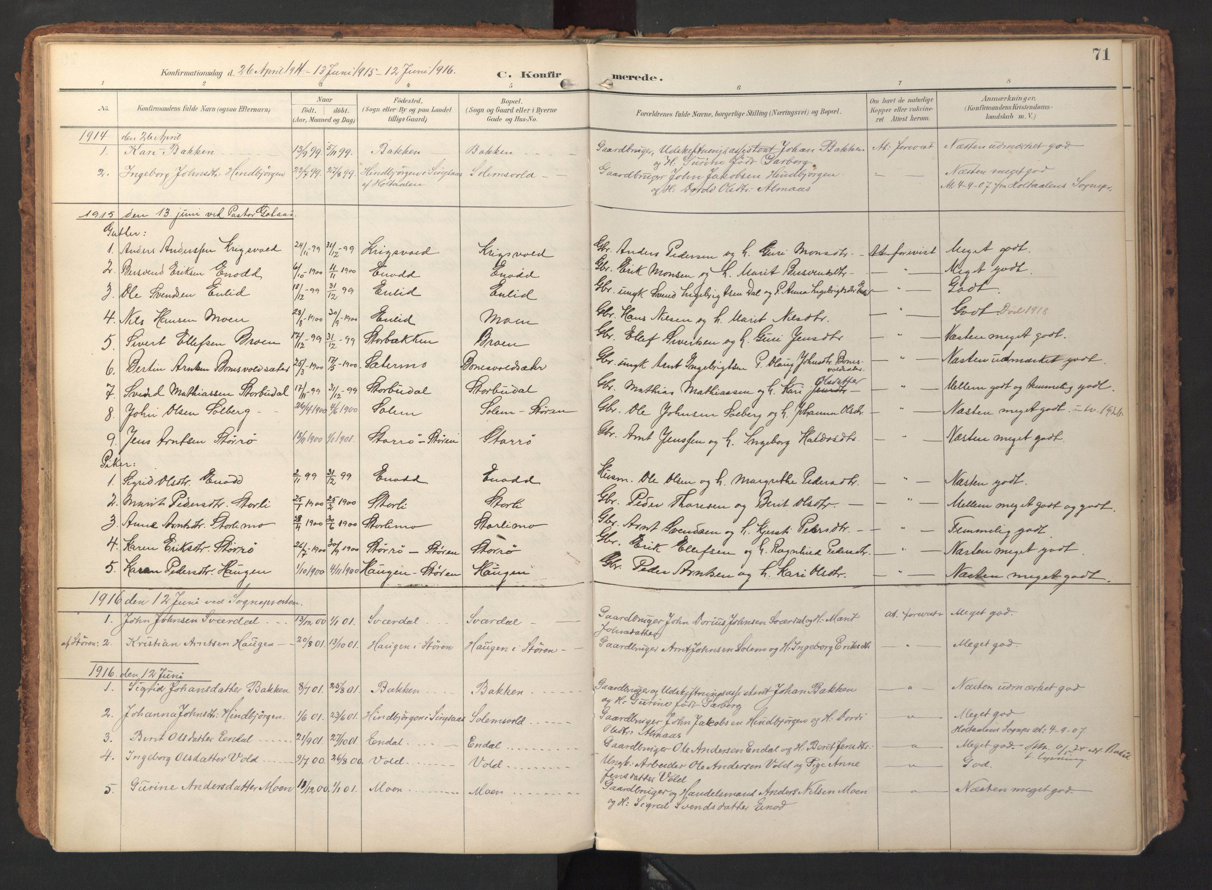 SAT, Ministerialprotokoller, klokkerbøker og fødselsregistre - Sør-Trøndelag, 690/L1050: Ministerialbok nr. 690A01, 1889-1929, s. 71