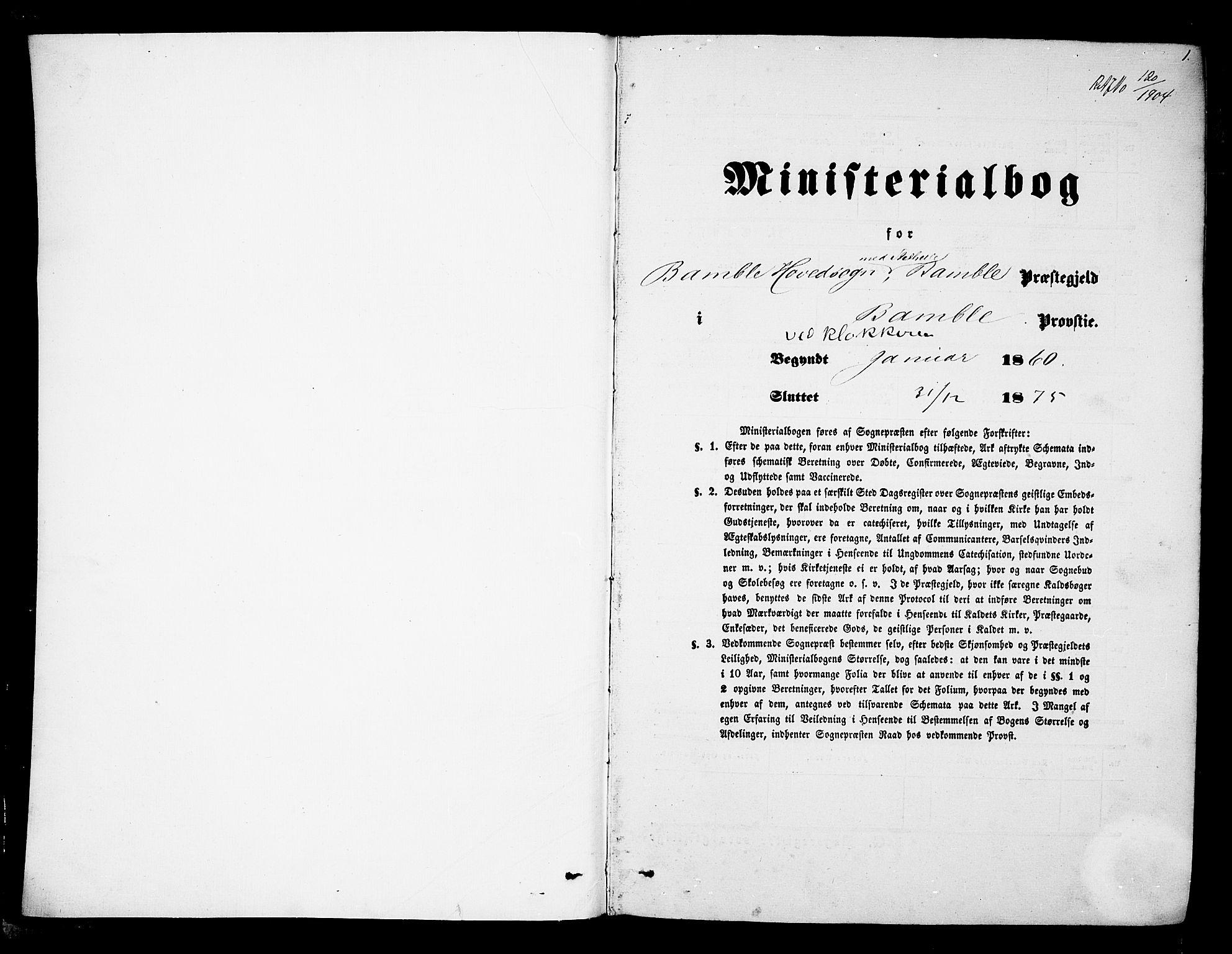 SAKO, Bamble kirkebøker, G/Ga/L0006: Klokkerbok nr. I 6, 1860-1876, s. 1