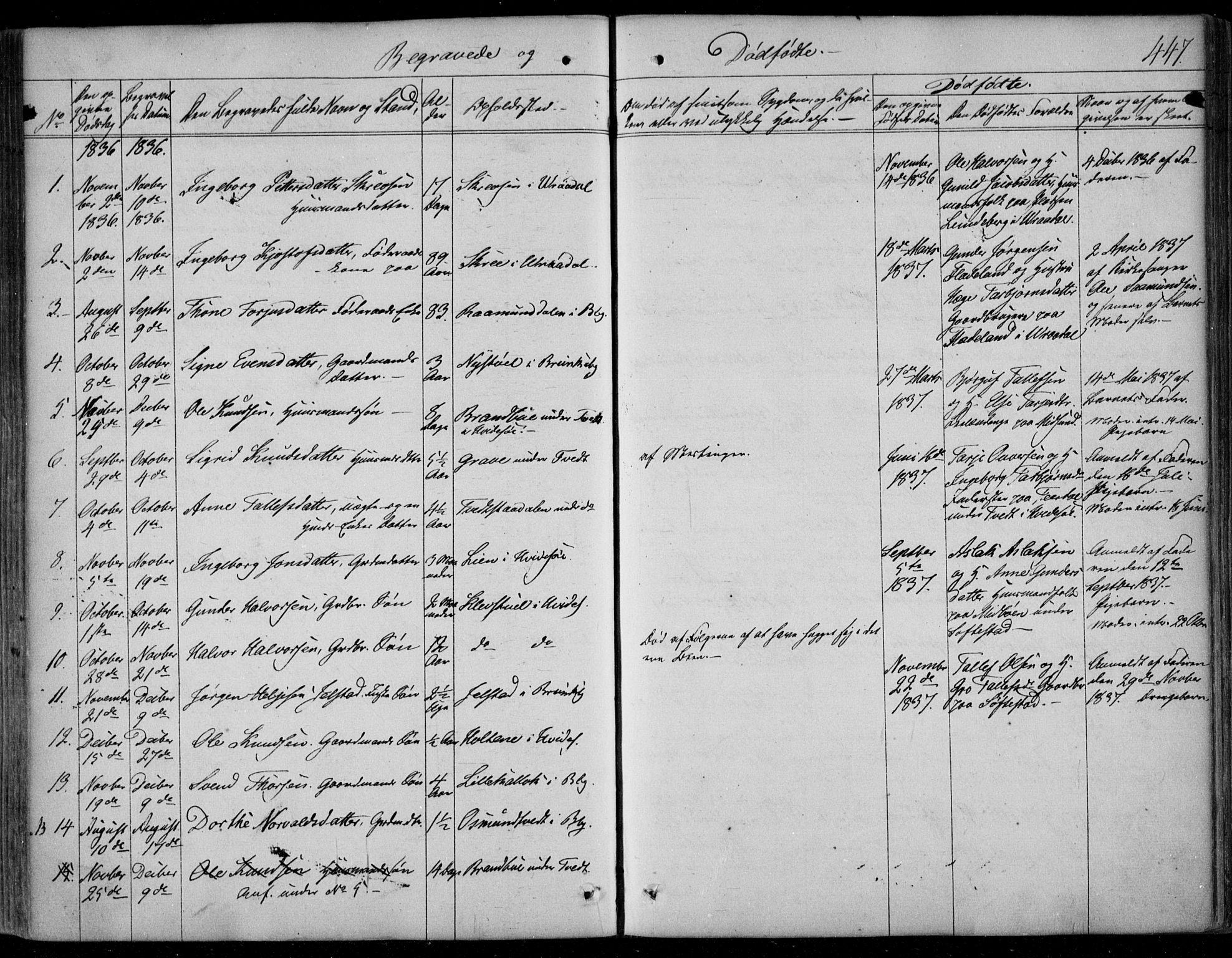 SAKO, Kviteseid kirkebøker, F/Fa/L0006: Ministerialbok nr. I 6, 1836-1858, s. 447