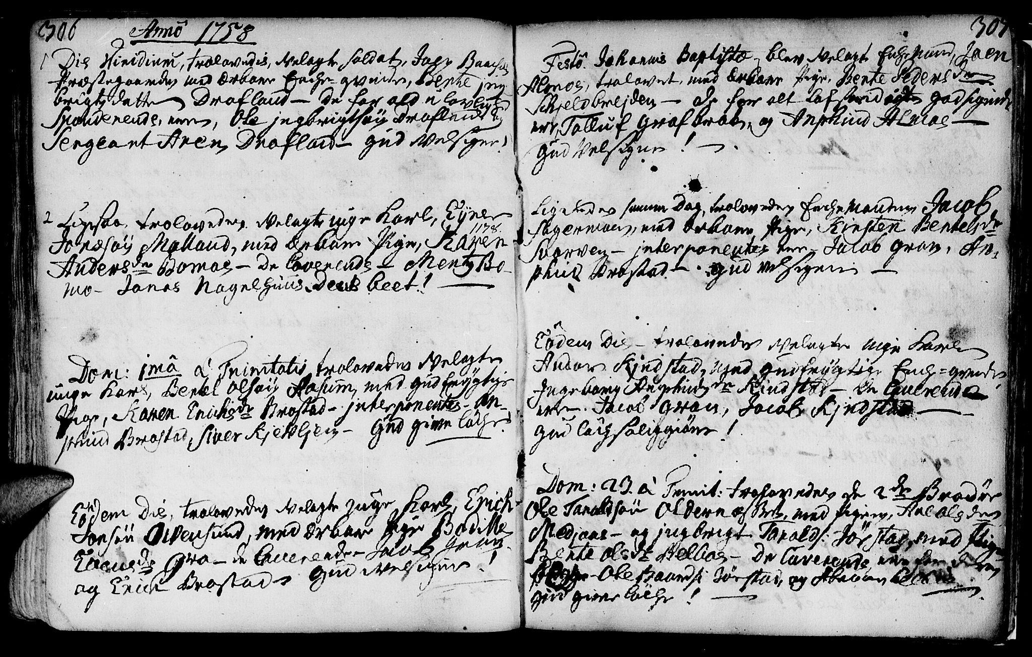 SAT, Ministerialprotokoller, klokkerbøker og fødselsregistre - Nord-Trøndelag, 749/L0467: Ministerialbok nr. 749A01, 1733-1787, s. 306-307