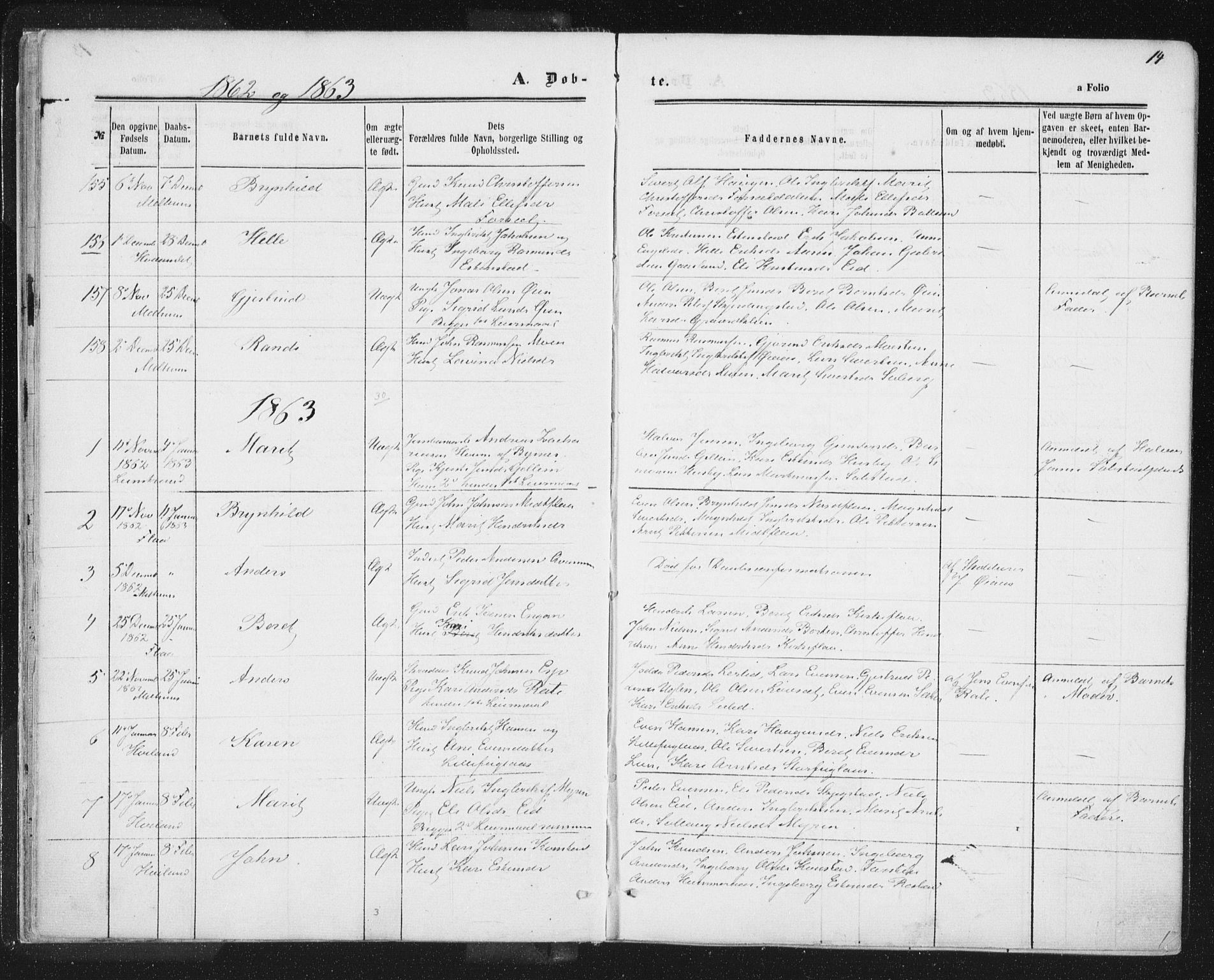 SAT, Ministerialprotokoller, klokkerbøker og fødselsregistre - Sør-Trøndelag, 691/L1077: Ministerialbok nr. 691A09, 1862-1873, s. 14