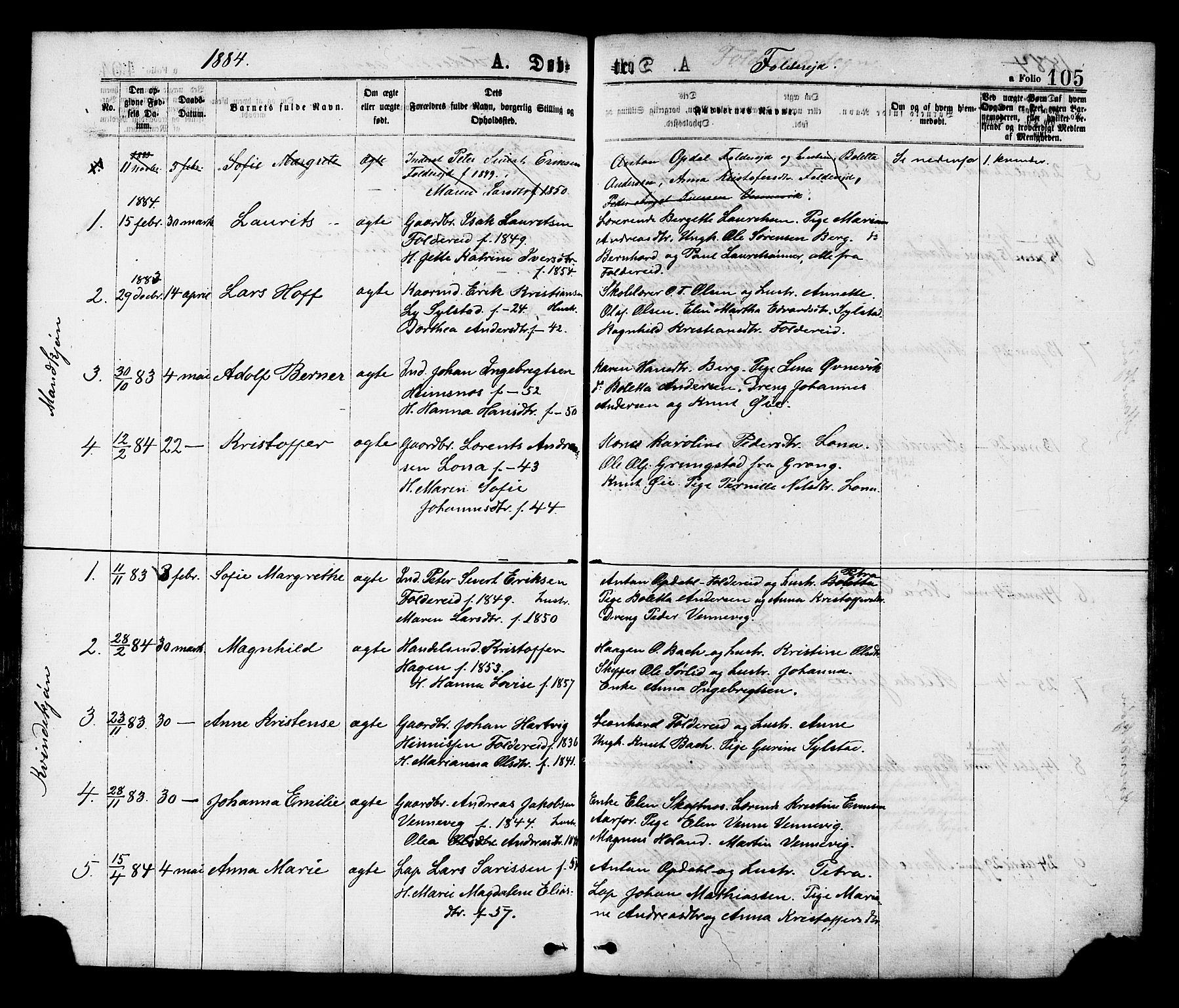 SAT, Ministerialprotokoller, klokkerbøker og fødselsregistre - Nord-Trøndelag, 780/L0642: Ministerialbok nr. 780A07 /2, 1878-1885, s. 105