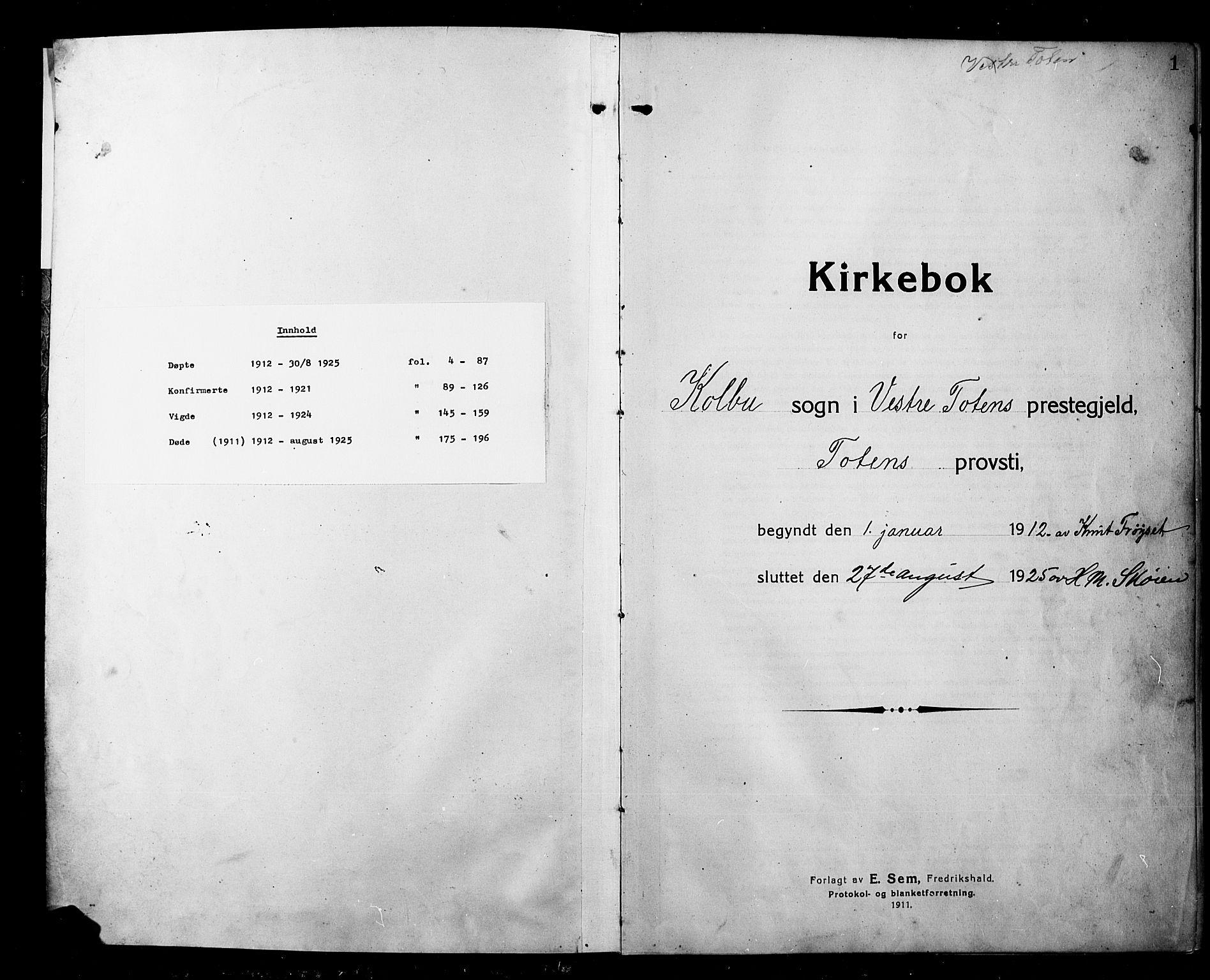 SAH, Kolbu prestekontor, Klokkerbok nr. 1, 1912-1925, s. 1