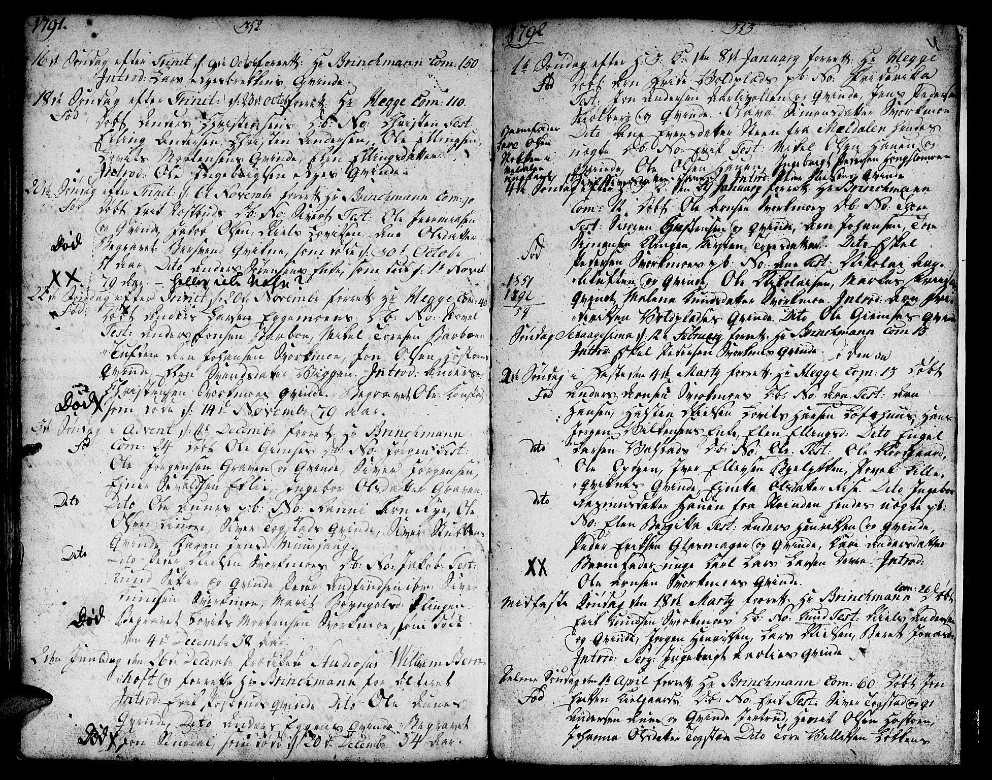 SAT, Ministerialprotokoller, klokkerbøker og fødselsregistre - Sør-Trøndelag, 671/L0840: Ministerialbok nr. 671A02, 1756-1794, s. 352-353