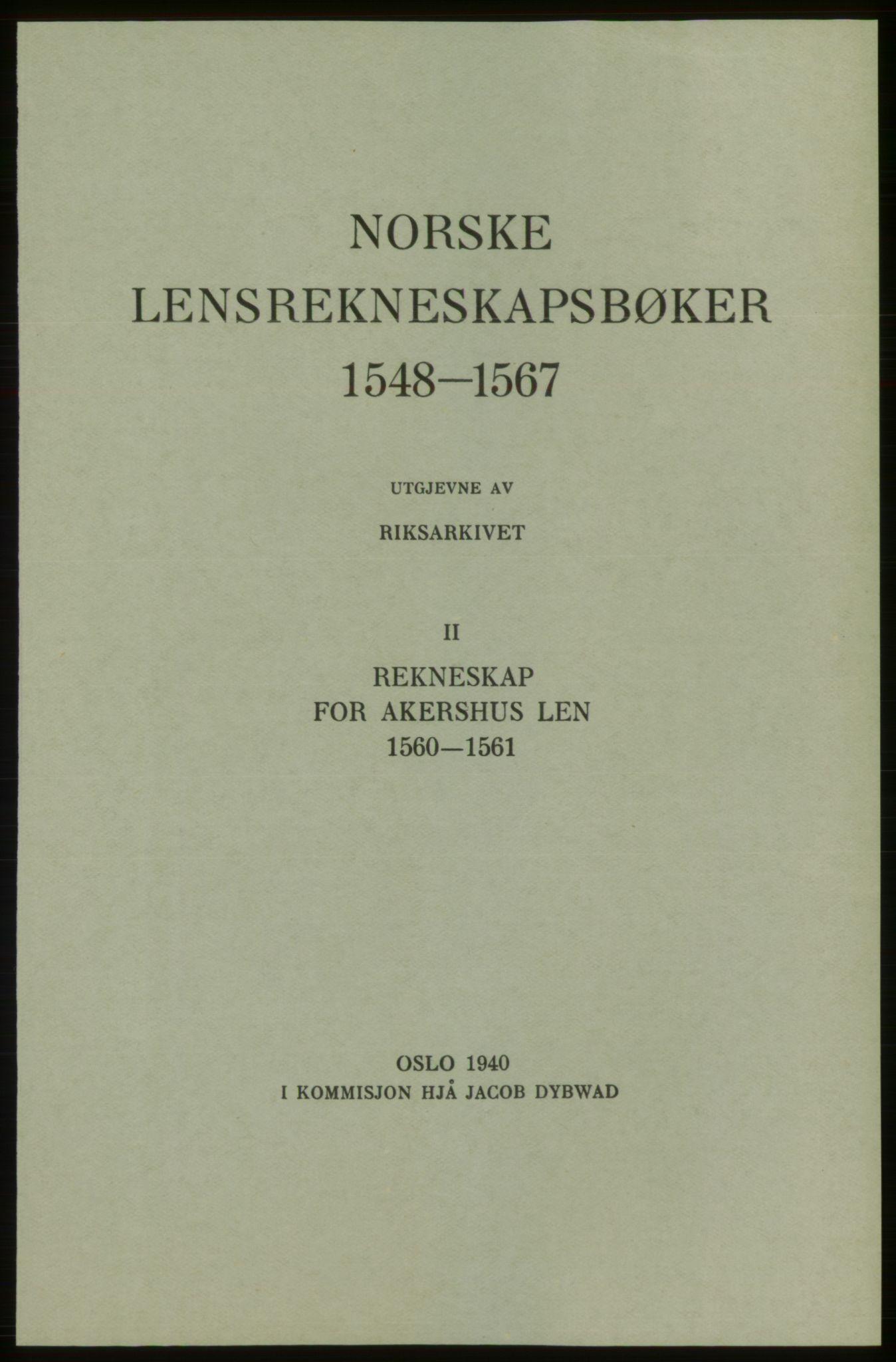 RA, Norske Lensrekneskapsbøker (publikasjon)*, 1560-1561