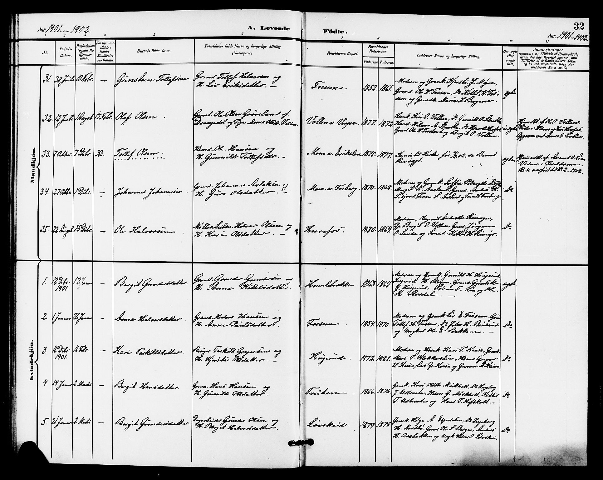 SAKO, Bø kirkebøker, G/Ga/L0006: Klokkerbok nr. 6, 1898-1909, s. 32