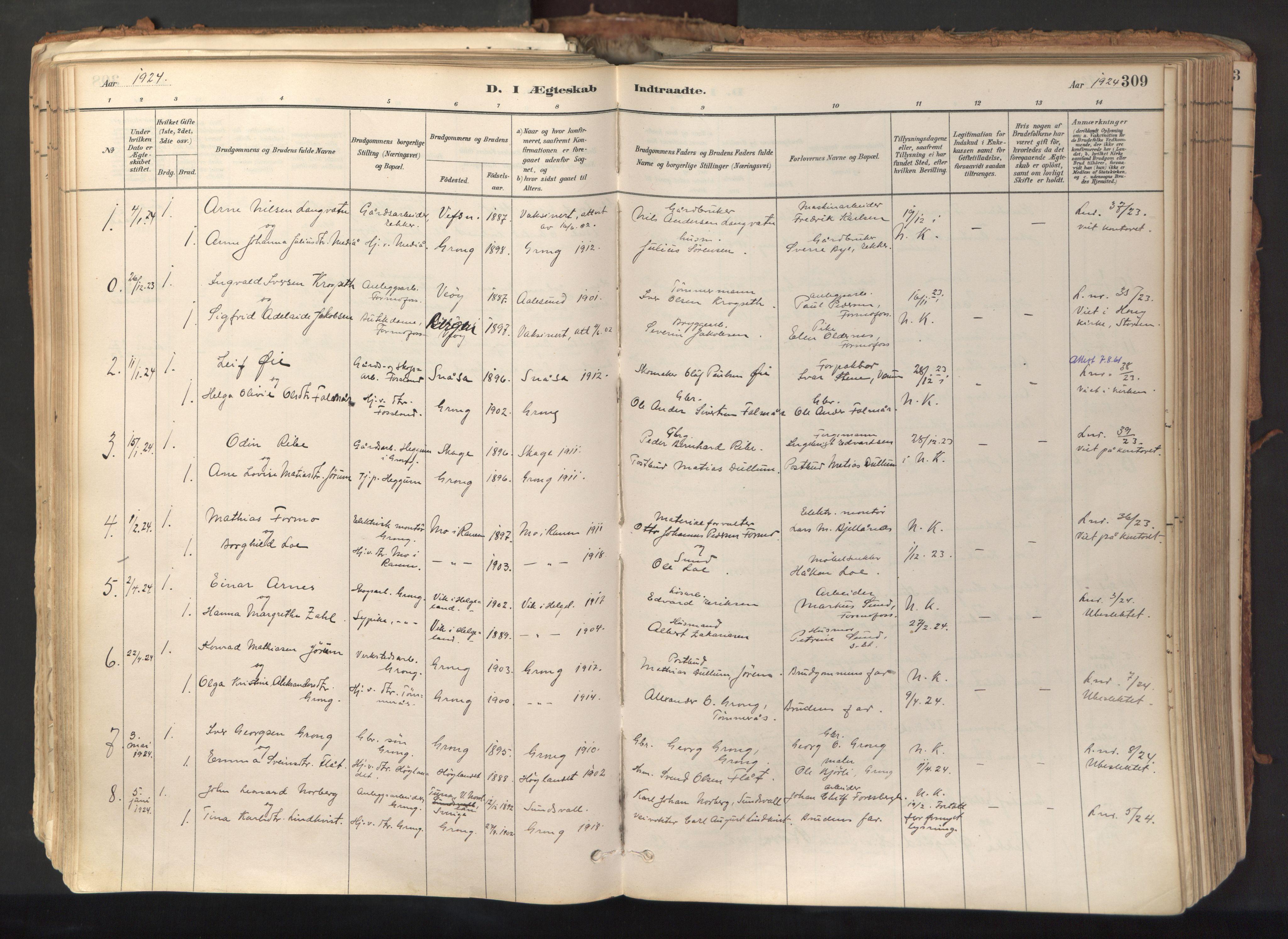 SAT, Ministerialprotokoller, klokkerbøker og fødselsregistre - Nord-Trøndelag, 758/L0519: Ministerialbok nr. 758A04, 1880-1926, s. 309