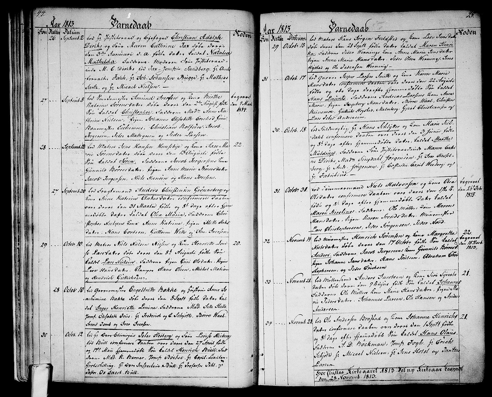 SAKO, Larvik kirkebøker, G/Ga/L0002: Klokkerbok nr. I 2, 1807-1830, s. 44-45