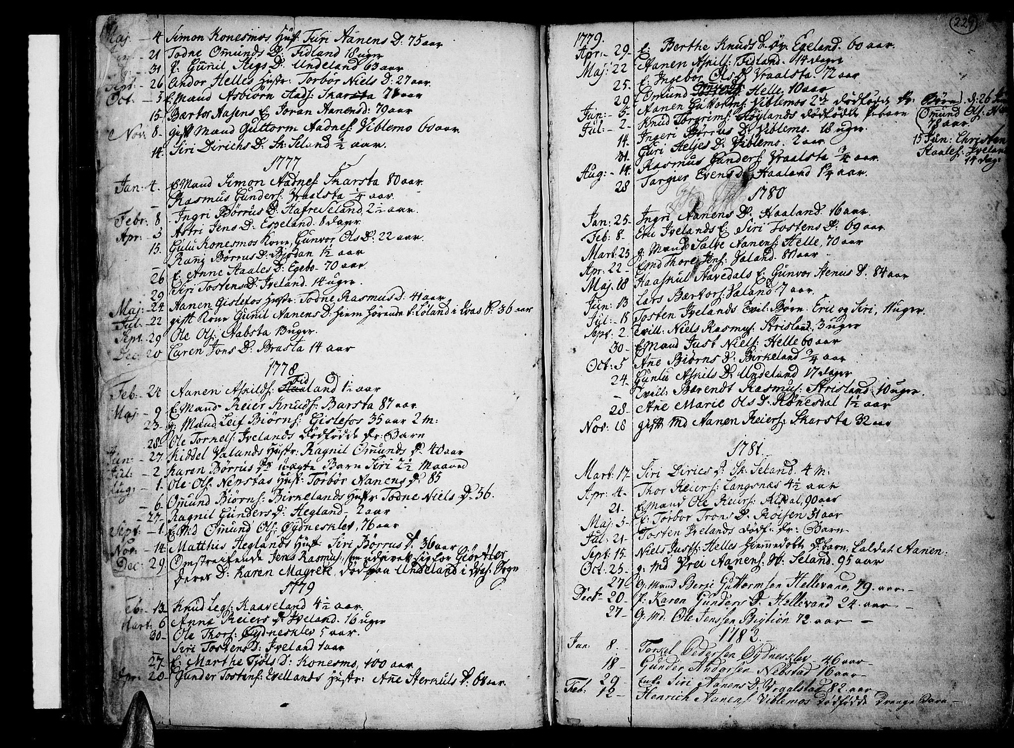 SAK, Sør-Audnedal sokneprestkontor, F/Fa/Fab/L0002: Ministerialbok nr. A 2 /4, 1768-1814, s. 229