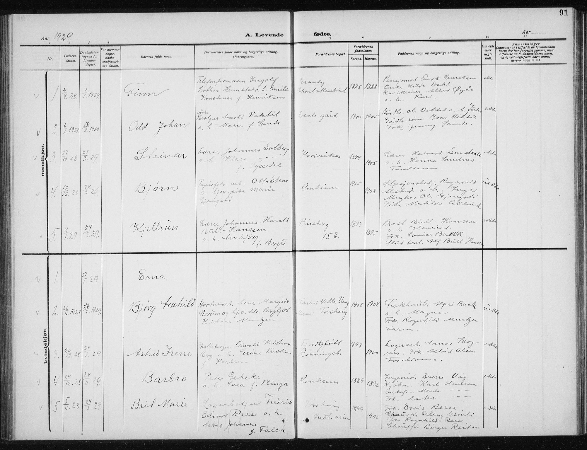 SAT, Ministerialprotokoller, klokkerbøker og fødselsregistre - Sør-Trøndelag, 606/L0314: Klokkerbok nr. 606C10, 1911-1937, s. 91