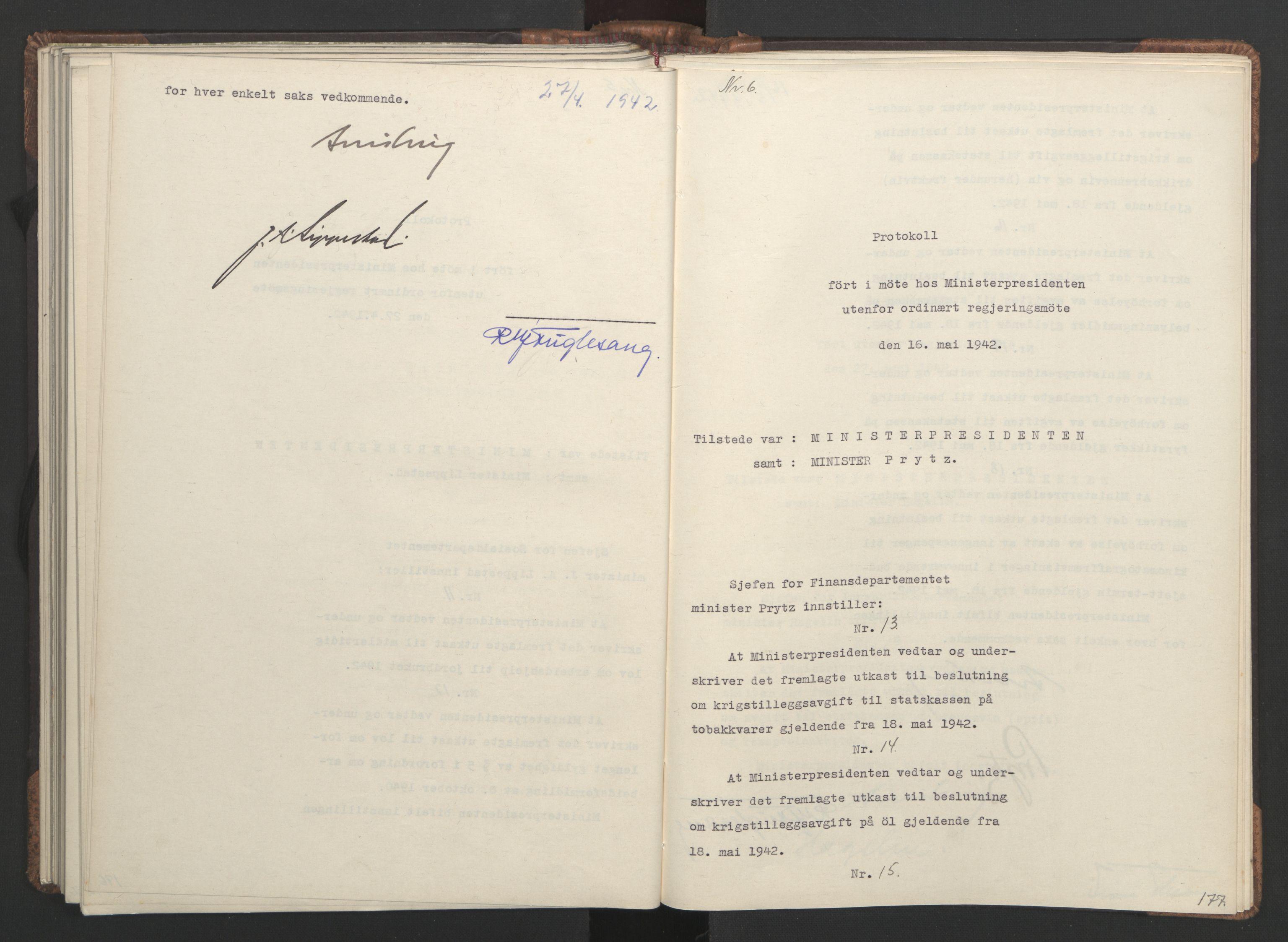 RA, NS-administrasjonen 1940-1945 (Statsrådsekretariatet, de kommisariske statsråder mm), D/Da/L0001: Beslutninger og tillegg (1-952 og 1-32), 1942, s. 176b-177a
