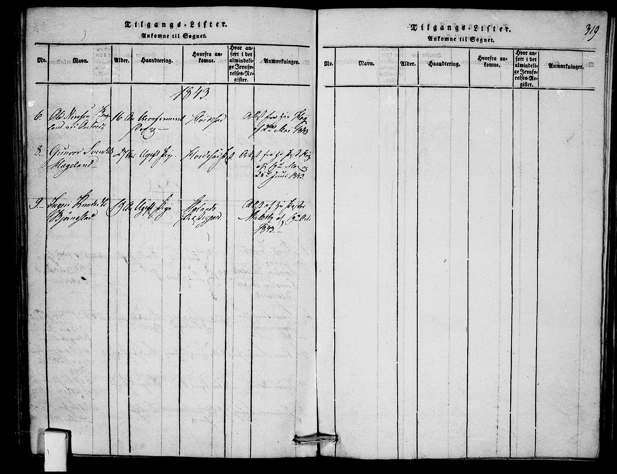 SAKO, Mo kirkebøker, F/Fb/L0001: Ministerialbok nr. II 1, 1814-1844, s. 319
