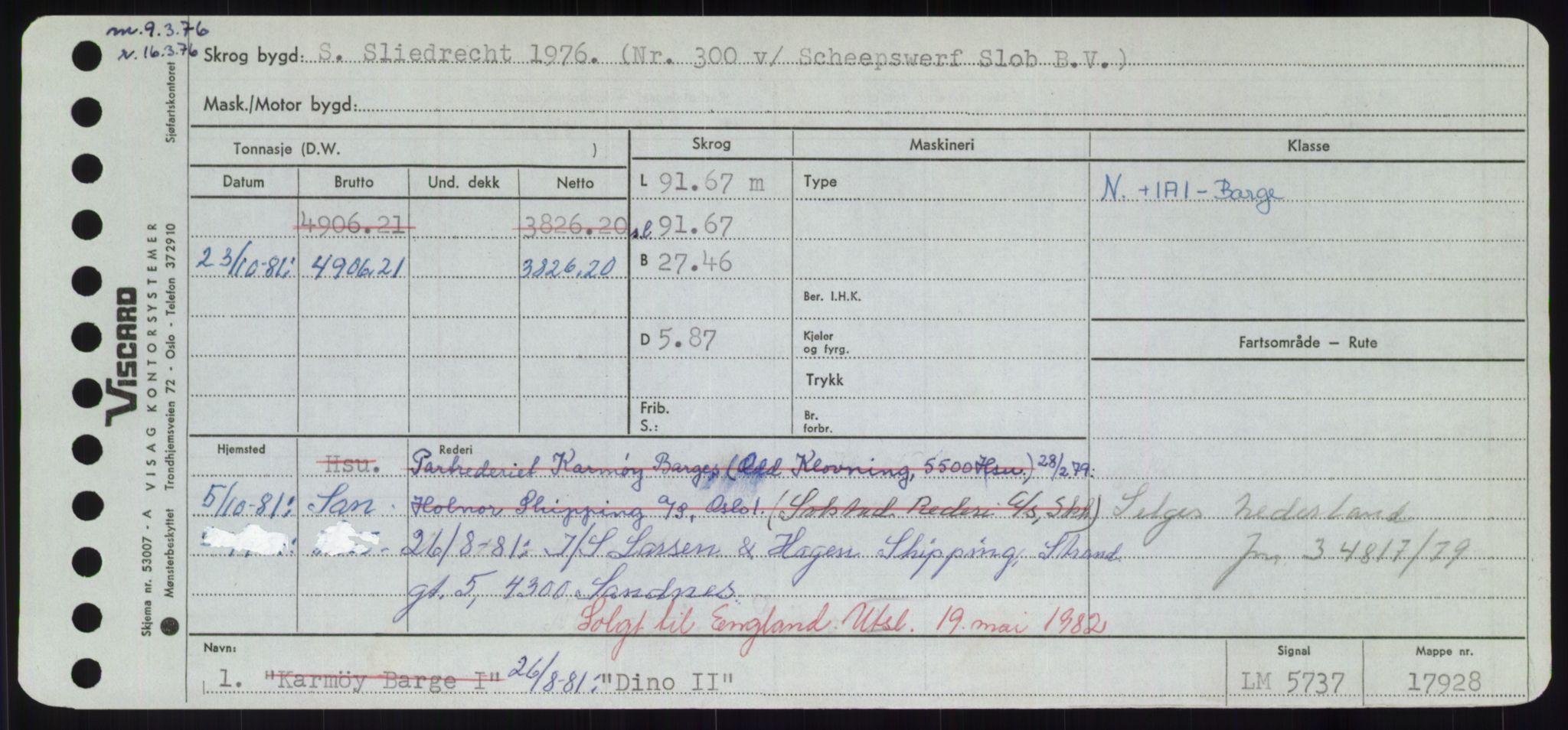 RA, Sjøfartsdirektoratet med forløpere, Skipsmålingen, H/Hd/L0008: Fartøy, C-D, s. 499