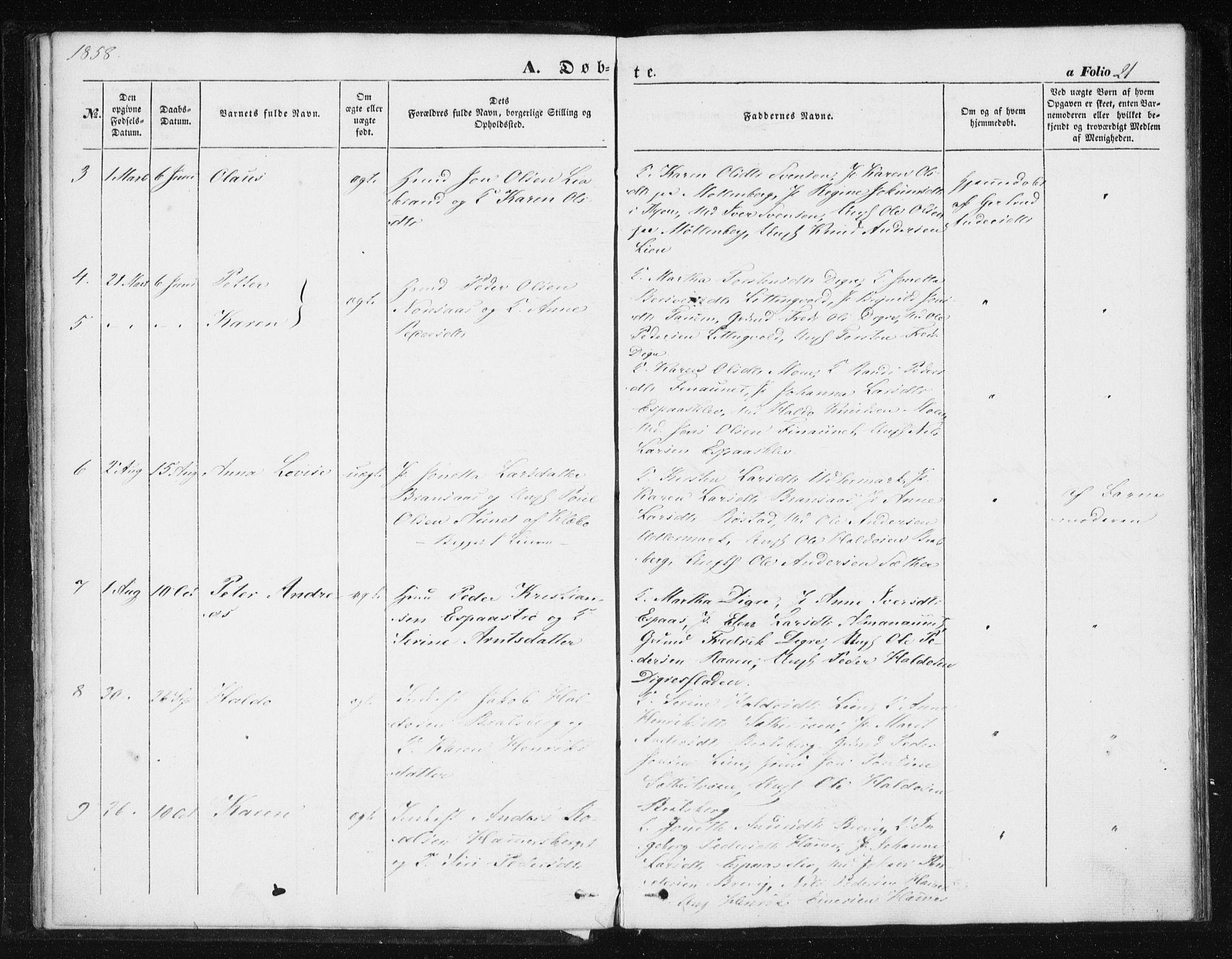 SAT, Ministerialprotokoller, klokkerbøker og fødselsregistre - Sør-Trøndelag, 608/L0332: Ministerialbok nr. 608A01, 1848-1861, s. 21