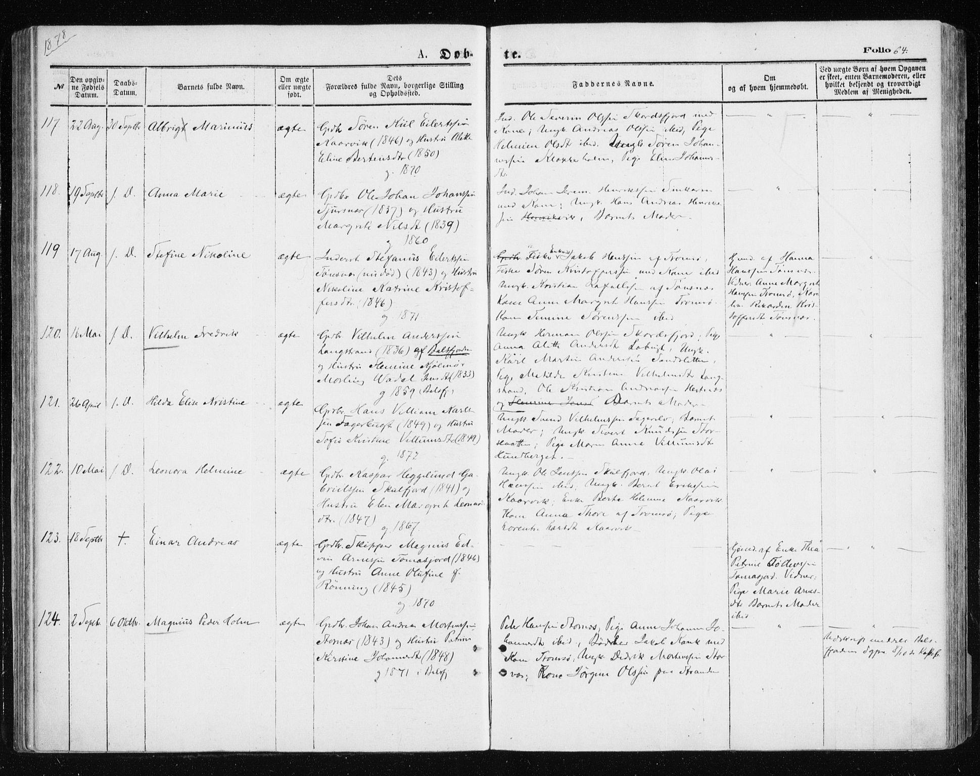 SATØ, Tromsøysund sokneprestkontor, G/Ga/L0003kirke: Ministerialbok nr. 3, 1875-1880, s. 64