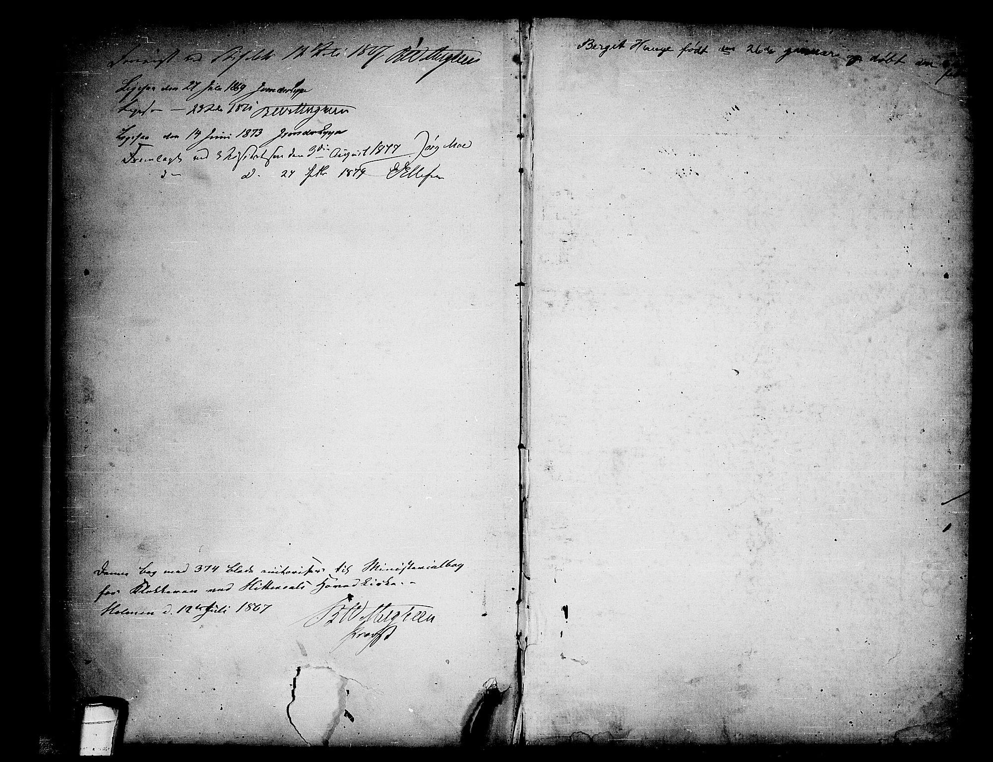 SAKO, Heddal kirkebøker, G/Ga/L0001: Klokkerbok nr. I 1, 1866-1878, s. 374-375