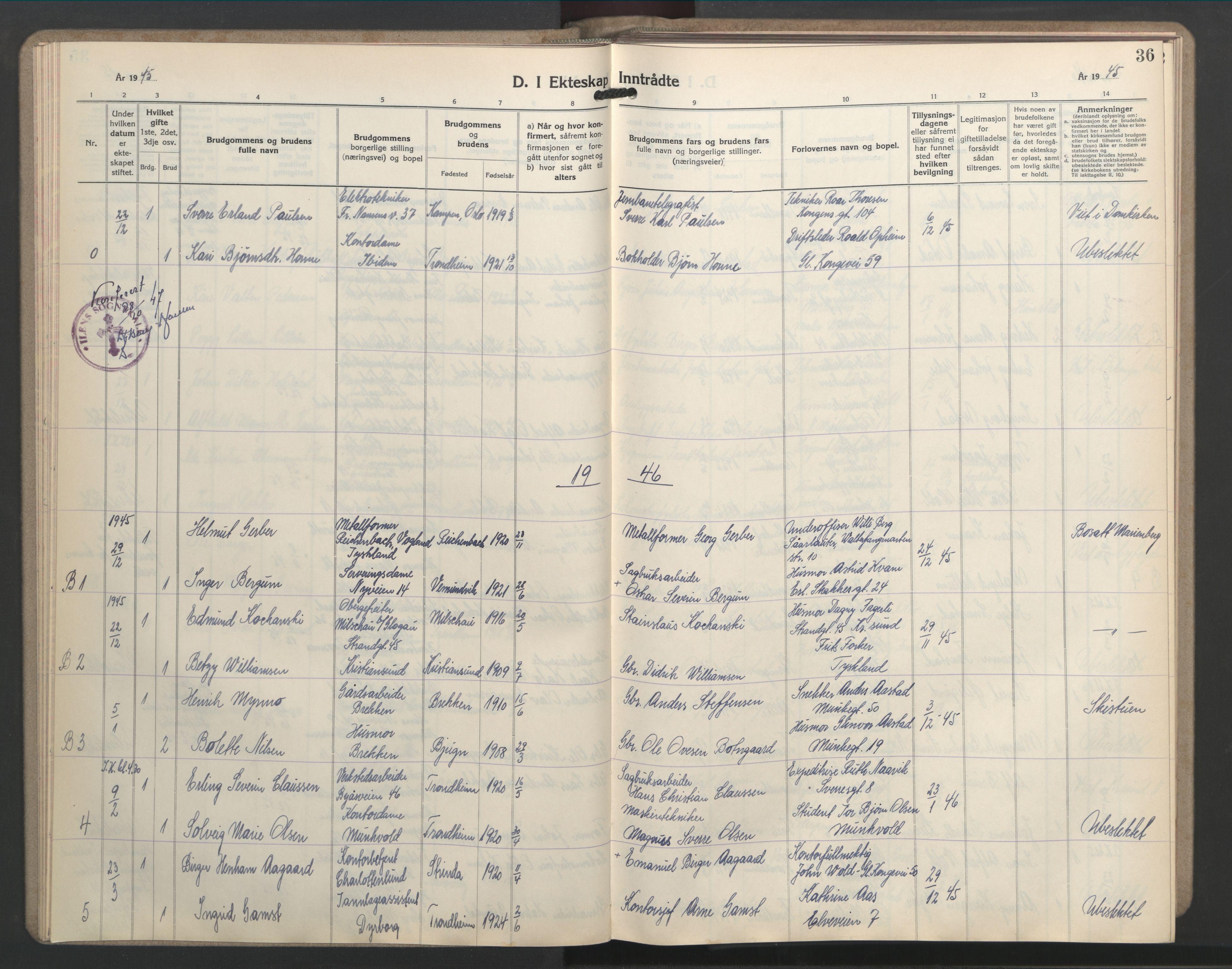 SAT, Ministerialprotokoller, klokkerbøker og fødselsregistre - Sør-Trøndelag, 603/L0177: Klokkerbok nr. 603C05, 1941-1952, s. 36