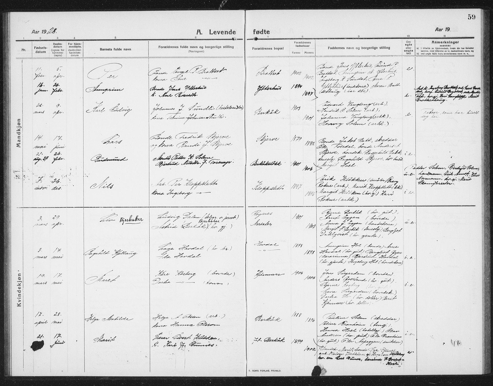 SAT, Ministerialprotokoller, klokkerbøker og fødselsregistre - Sør-Trøndelag, 675/L0888: Klokkerbok nr. 675C01, 1913-1935, s. 59
