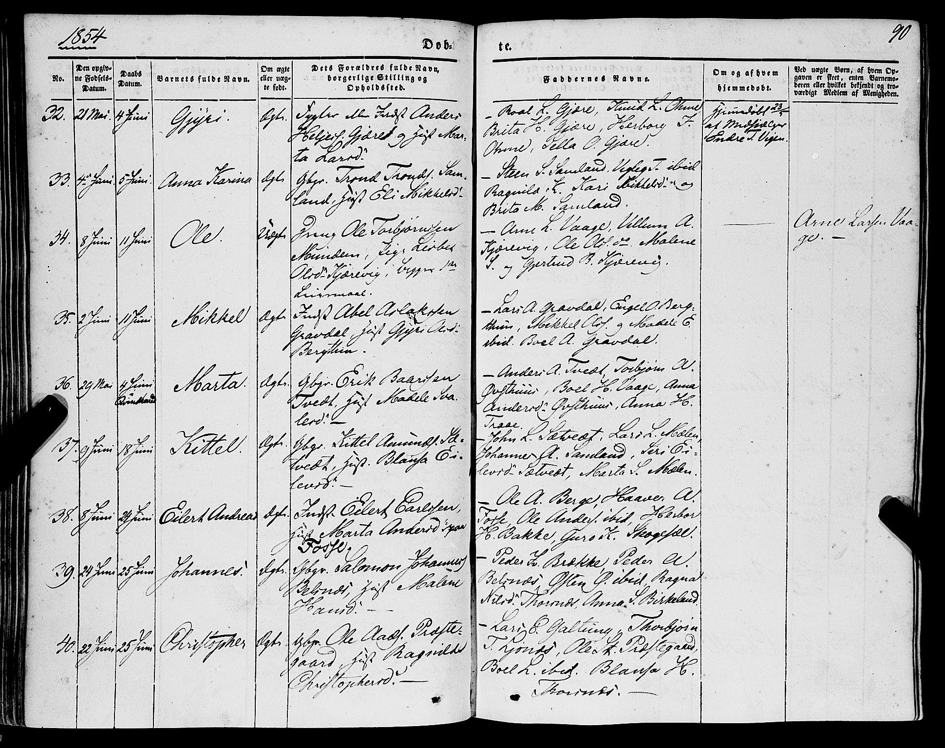 SAB, Strandebarm Sokneprestembete, H/Haa: Ministerialbok nr. A 7, 1844-1872, s. 90