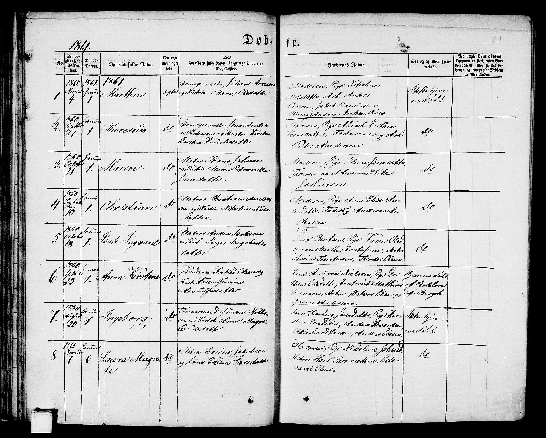 SAKO, Porsgrunn kirkebøker , G/Gb/L0004: Klokkerbok nr. II 4, 1853-1882, s. 63