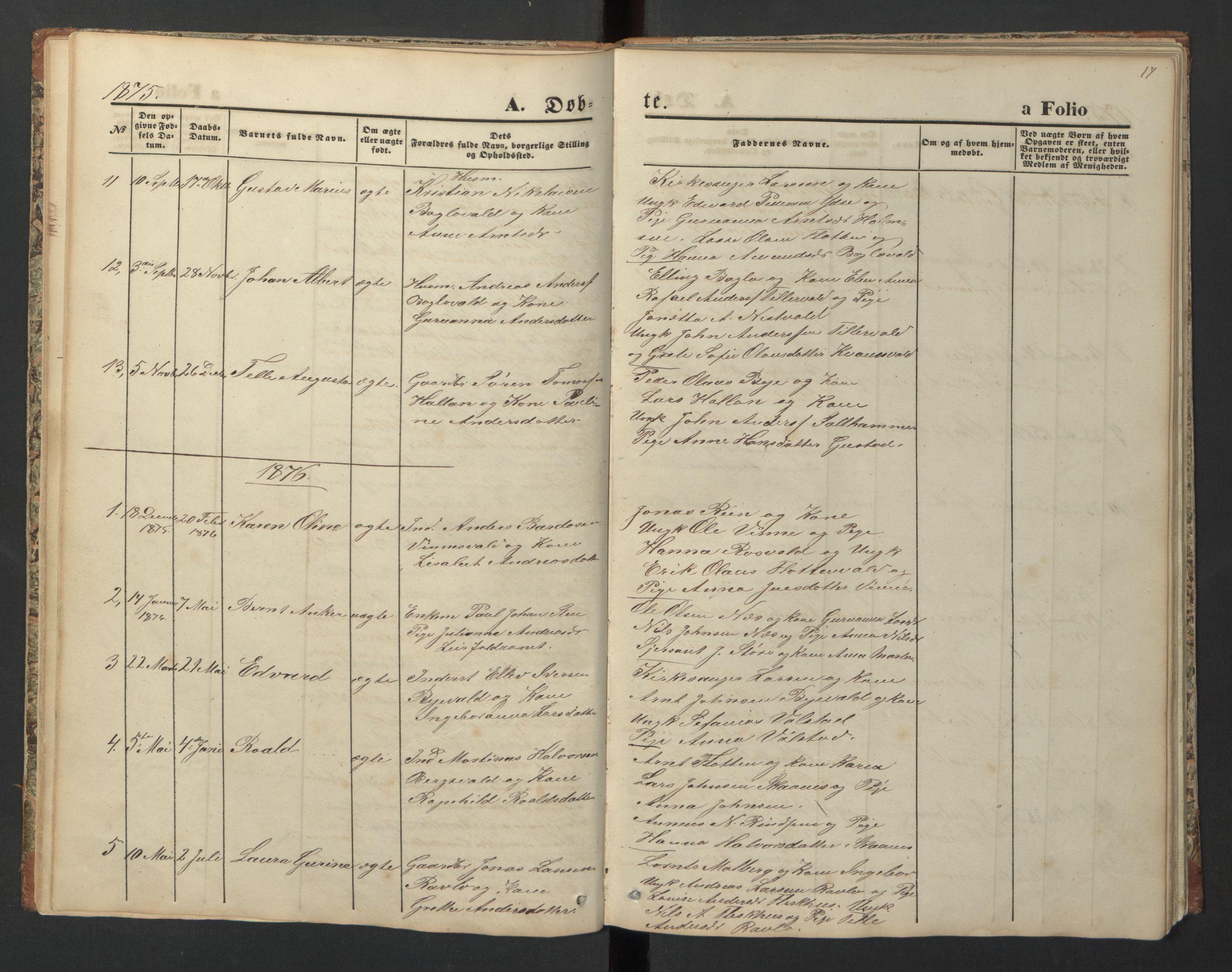 SAT, Ministerialprotokoller, klokkerbøker og fødselsregistre - Nord-Trøndelag, 726/L0271: Klokkerbok nr. 726C02, 1869-1897, s. 17