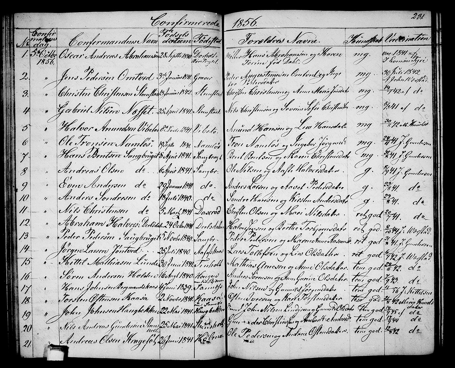 SAKO, Holla kirkebøker, G/Ga/L0003: Klokkerbok nr. I 3, 1849-1866, s. 231