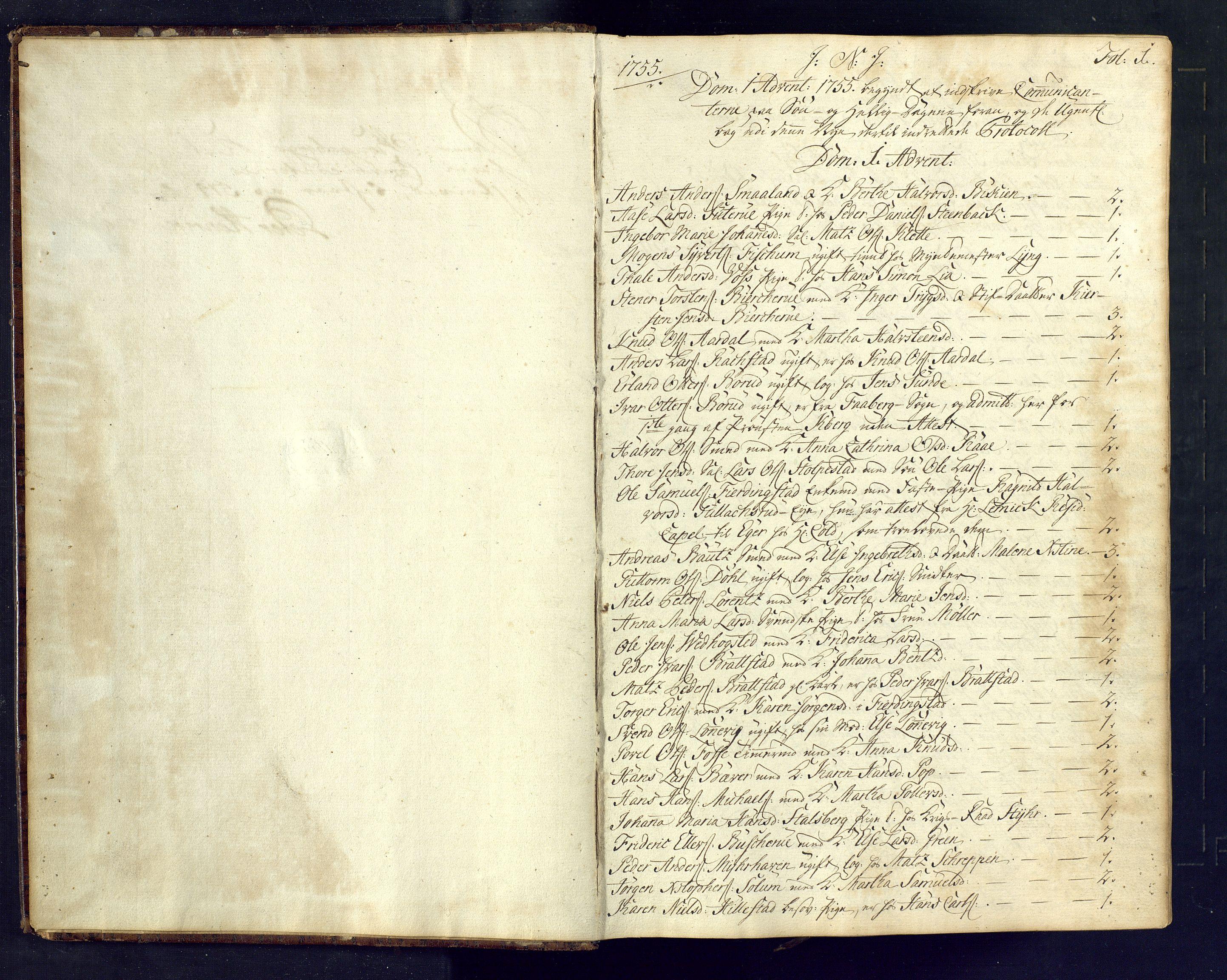 SAKO, Kongsberg kirkebøker, M/Ma/L0005: Kommunikantprotokoll nr. 5, 1755-1761, s. 1