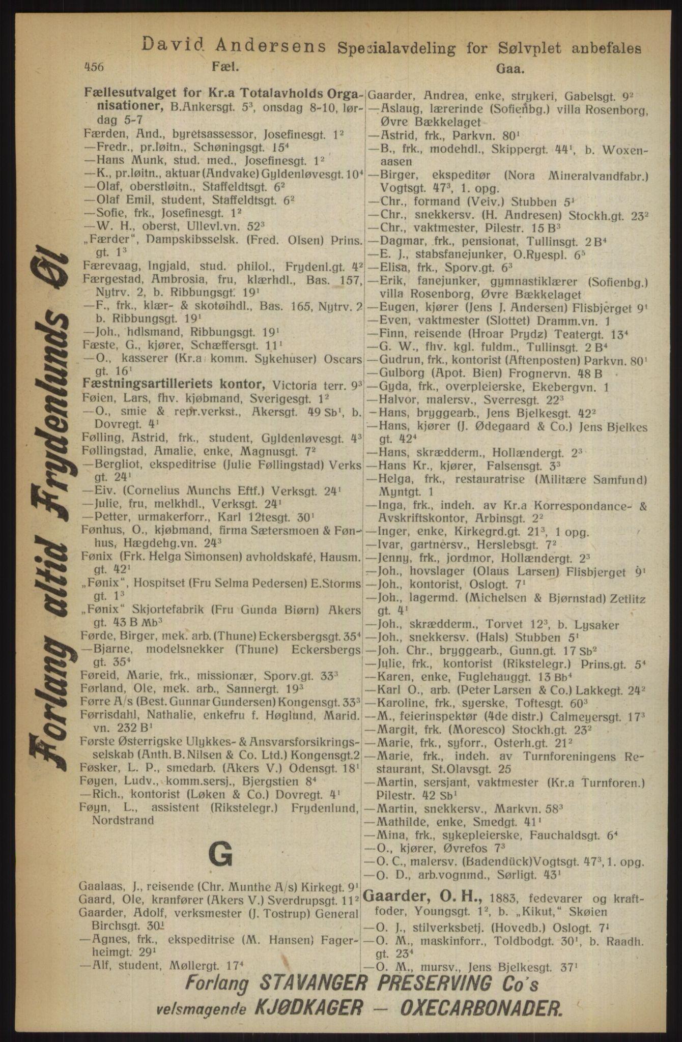 RA, Kristiania adressebok (publikasjon)*, 1914, s. 456