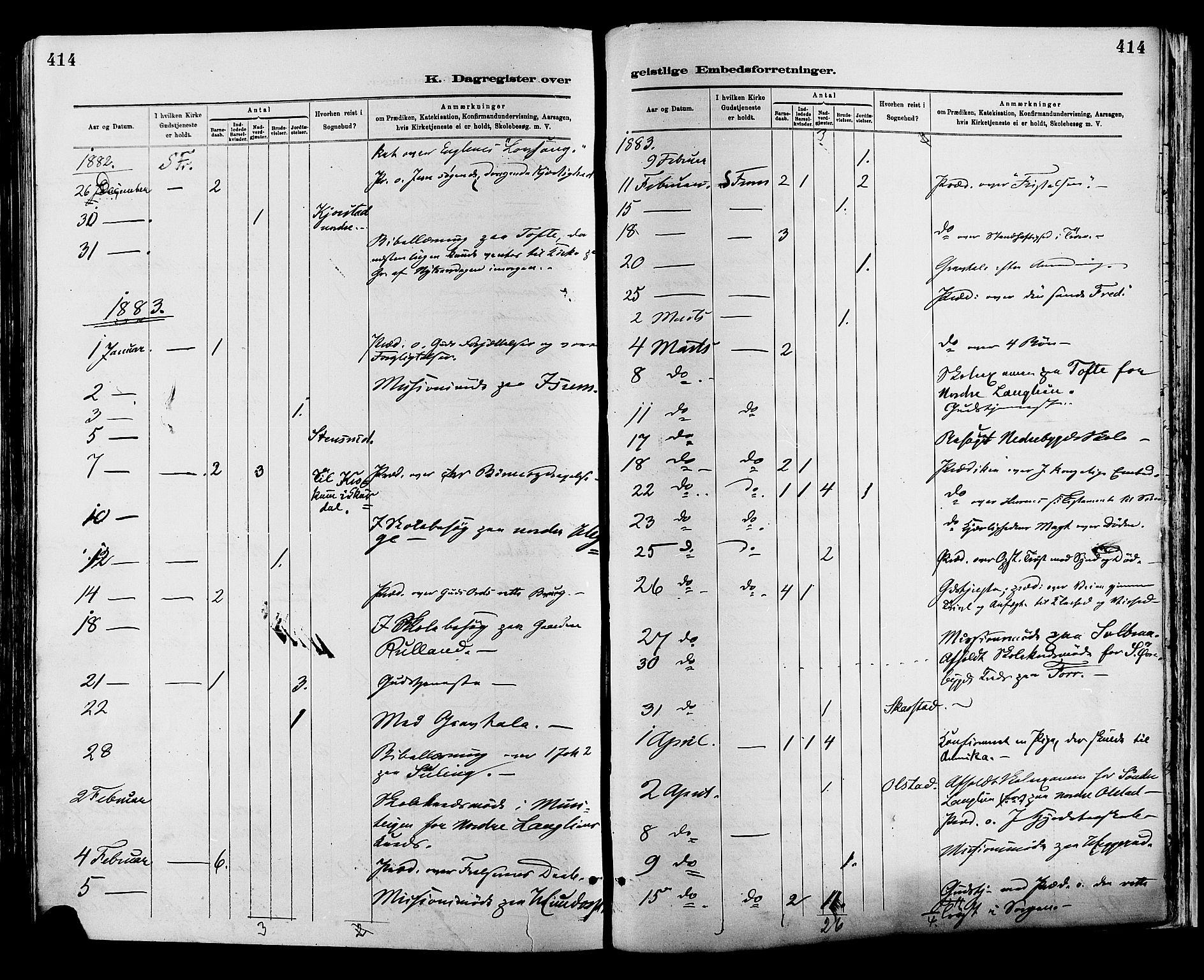 SAH, Sør-Fron prestekontor, H/Ha/Haa/L0003: Ministerialbok nr. 3, 1881-1897, s. 414