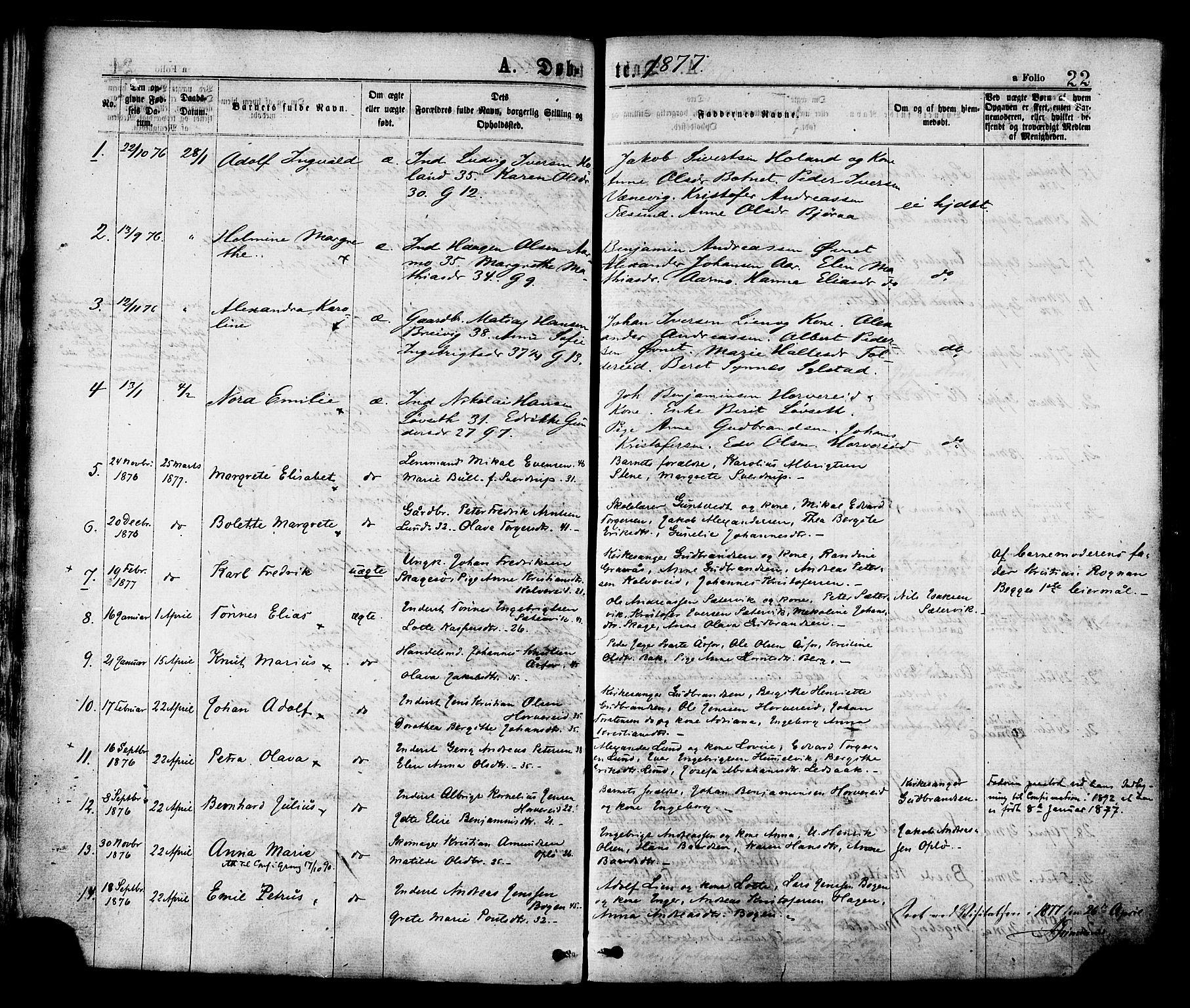 SAT, Ministerialprotokoller, klokkerbøker og fødselsregistre - Nord-Trøndelag, 780/L0642: Ministerialbok nr. 780A07 /1, 1874-1885, s. 22