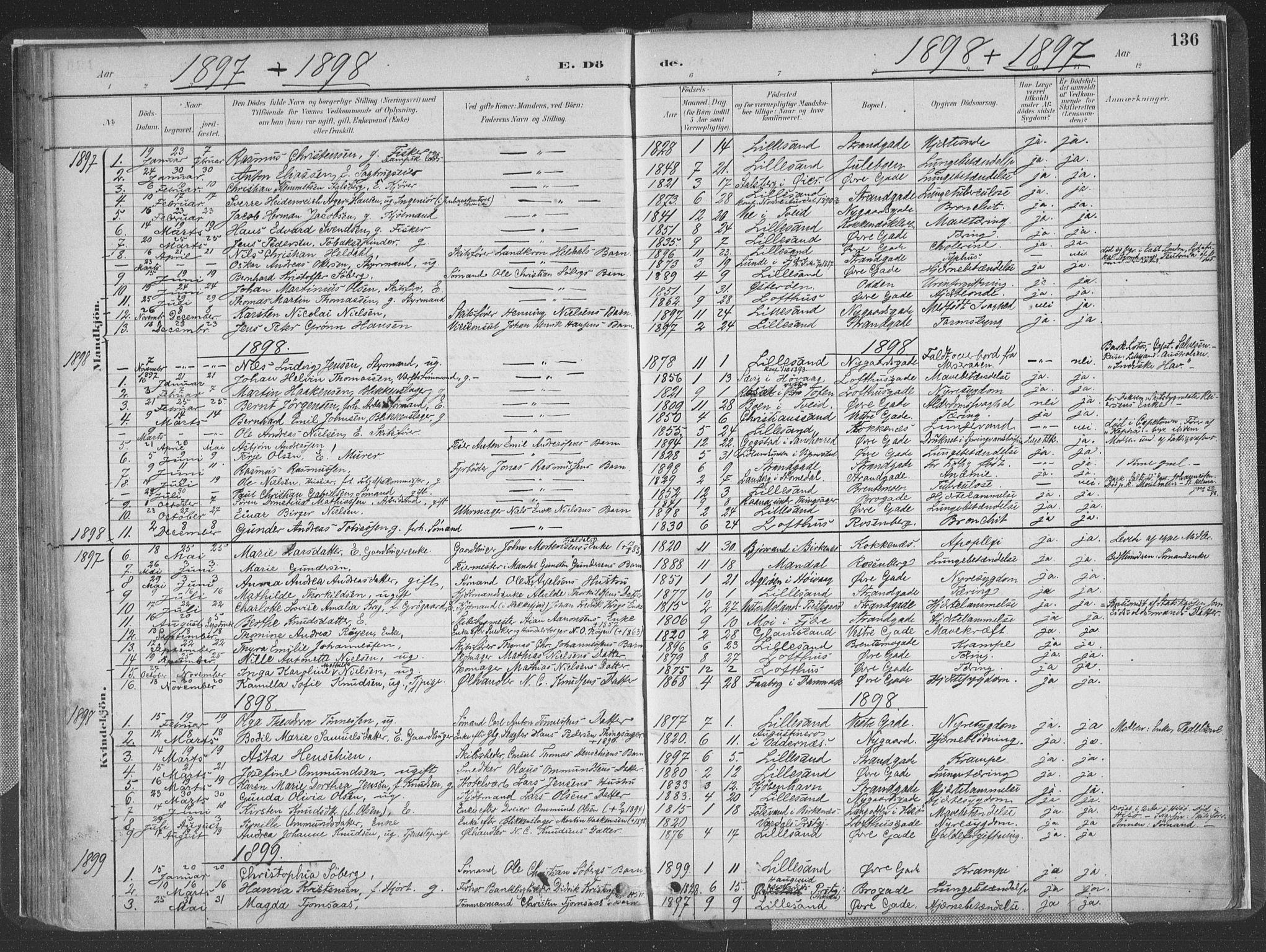 SAK, Vestre Moland sokneprestkontor, F/Fa/Faa/L0001: Ministerialbok nr. A 1, 1884-1899, s. 136