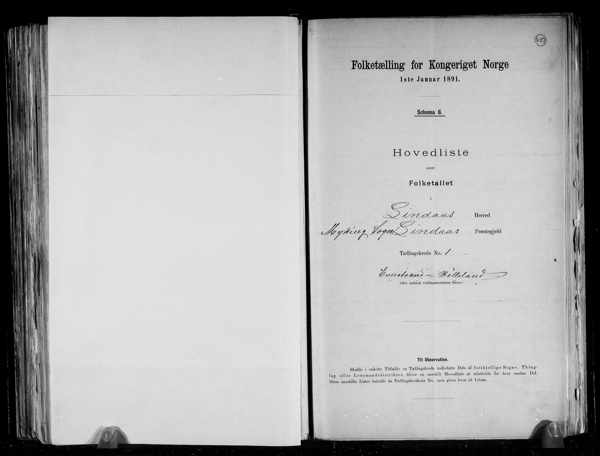RA, Folketelling 1891 for 1263 Lindås herred, 1891, s. 5