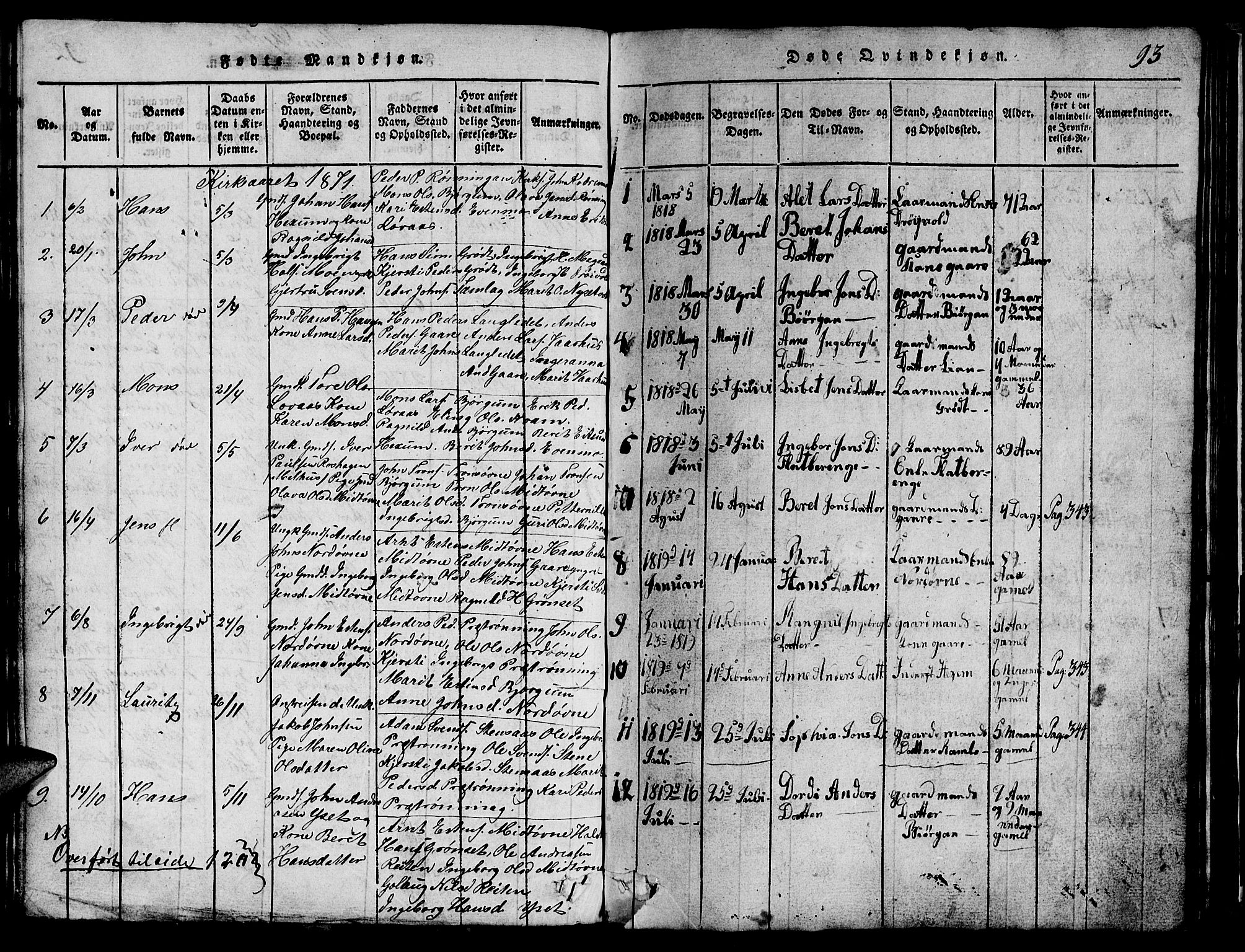 SAT, Ministerialprotokoller, klokkerbøker og fødselsregistre - Sør-Trøndelag, 685/L0976: Klokkerbok nr. 685C01, 1817-1878, s. 93