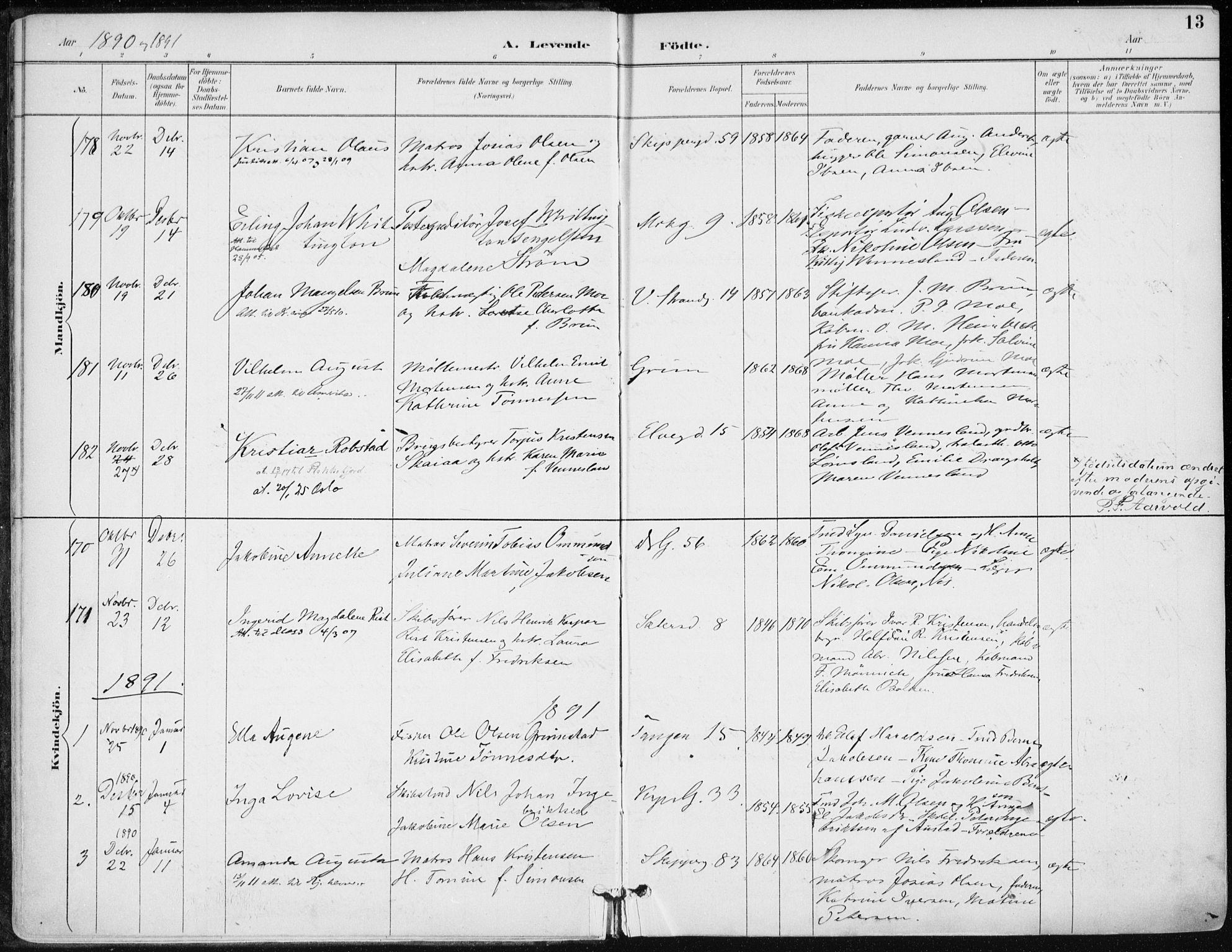 SAK, Kristiansand domprosti, F/Fa/L0019: Ministerialbok nr. A 18, 1890-1897, s. 13