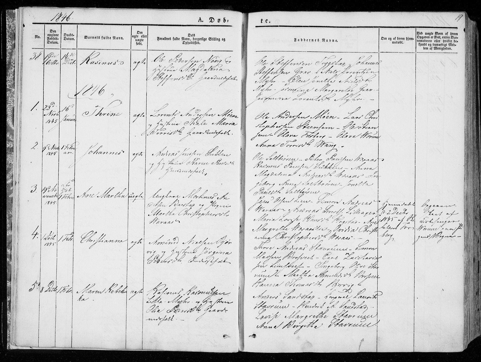 SAT, Ministerialprotokoller, klokkerbøker og fødselsregistre - Nord-Trøndelag, 722/L0218: Ministerialbok nr. 722A05, 1843-1868, s. 19