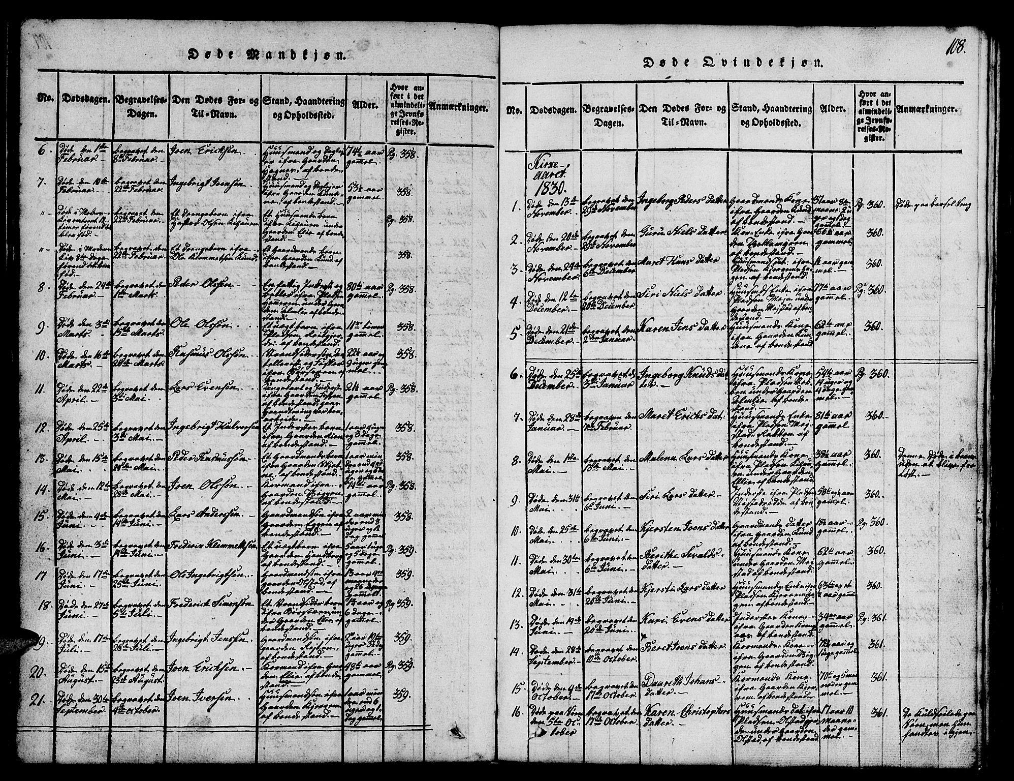 SAT, Ministerialprotokoller, klokkerbøker og fødselsregistre - Sør-Trøndelag, 665/L0776: Klokkerbok nr. 665C01, 1817-1837, s. 108
