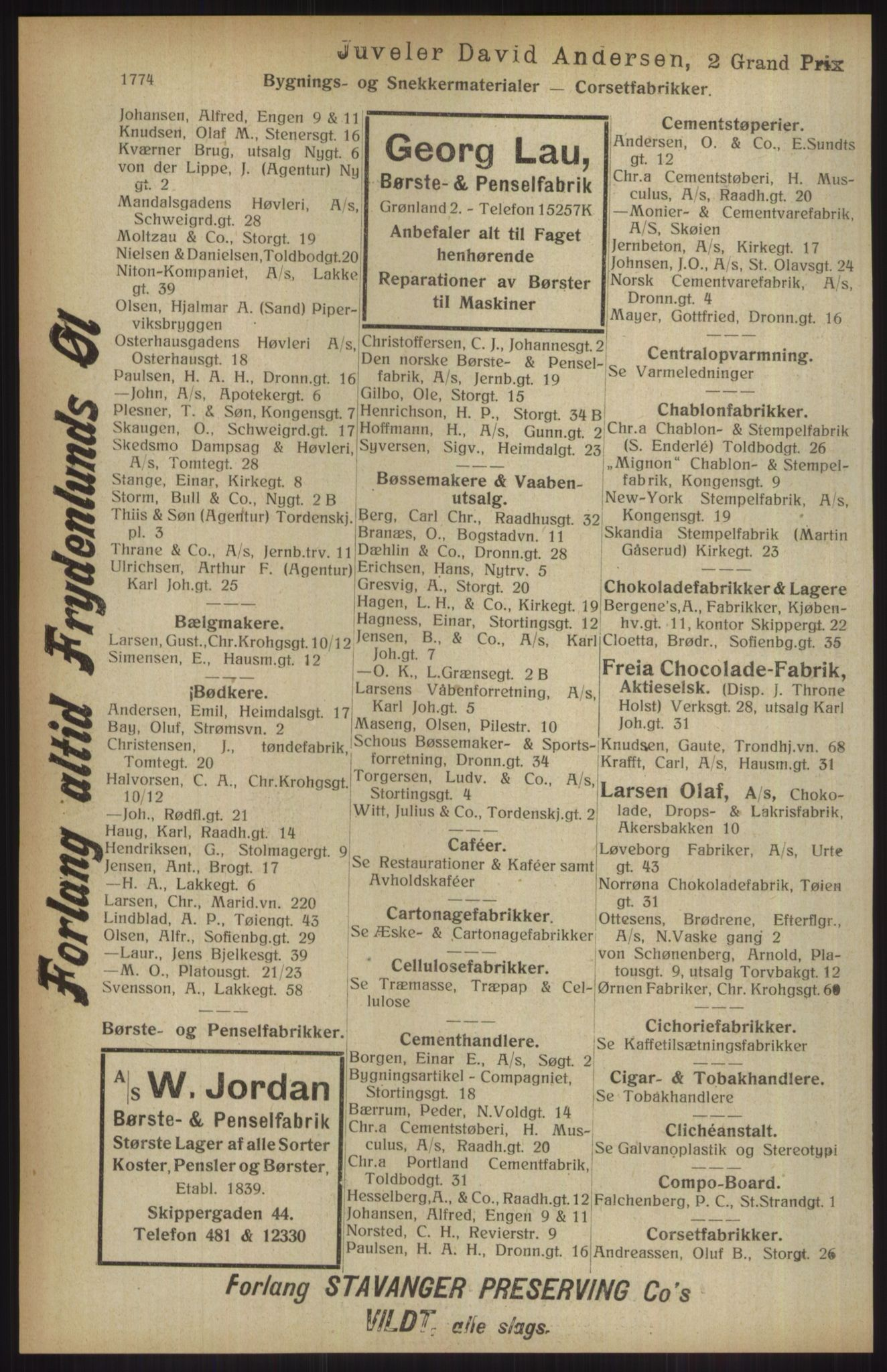 RA, Kristiania adressebok (publikasjon)*, 1914, s. 1774