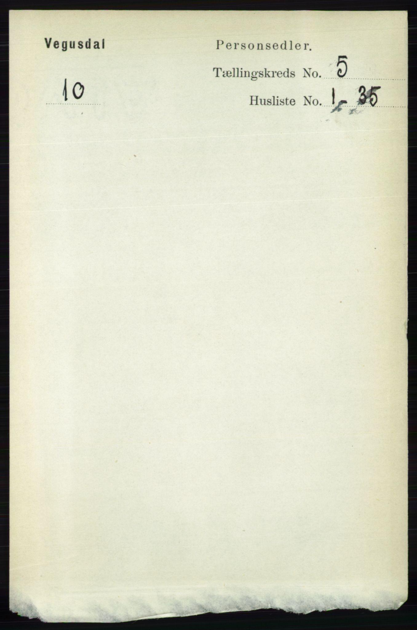 RA, Folketelling 1891 for 0934 Vegusdal herred, 1891, s. 884