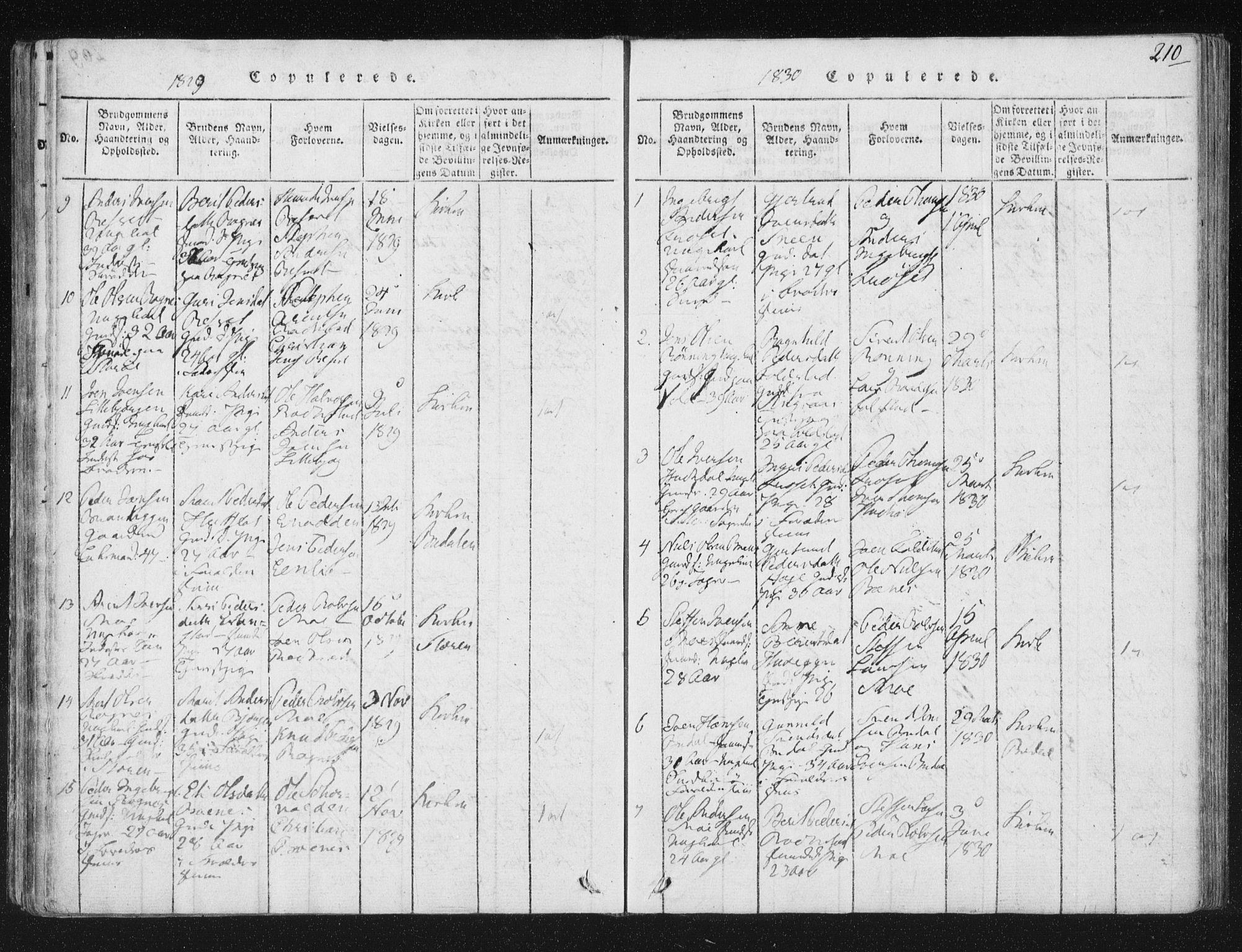 SAT, Ministerialprotokoller, klokkerbøker og fødselsregistre - Sør-Trøndelag, 687/L0996: Ministerialbok nr. 687A04, 1816-1842, s. 210