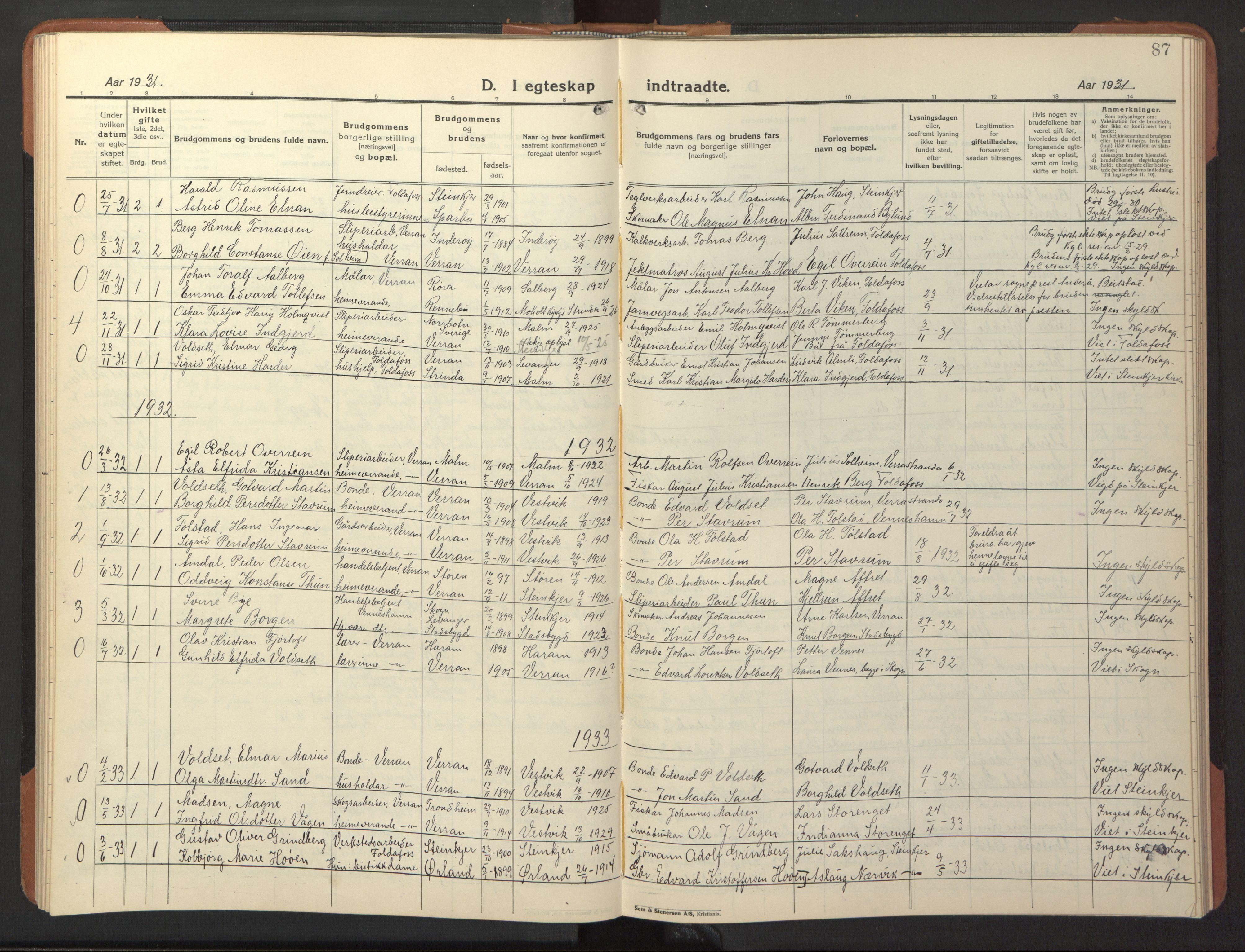 SAT, Ministerialprotokoller, klokkerbøker og fødselsregistre - Nord-Trøndelag, 744/L0425: Klokkerbok nr. 744C04, 1924-1947, s. 87