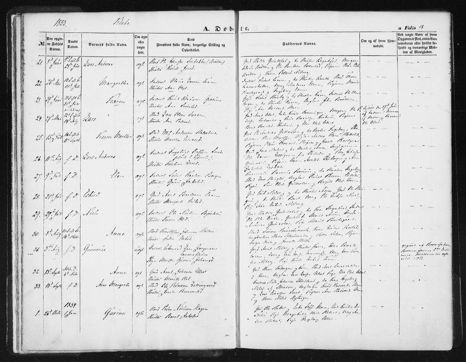 SAT, Ministerialprotokoller, klokkerbøker og fødselsregistre - Sør-Trøndelag, 618/L0441: Ministerialbok nr. 618A05, 1843-1862, s. 18
