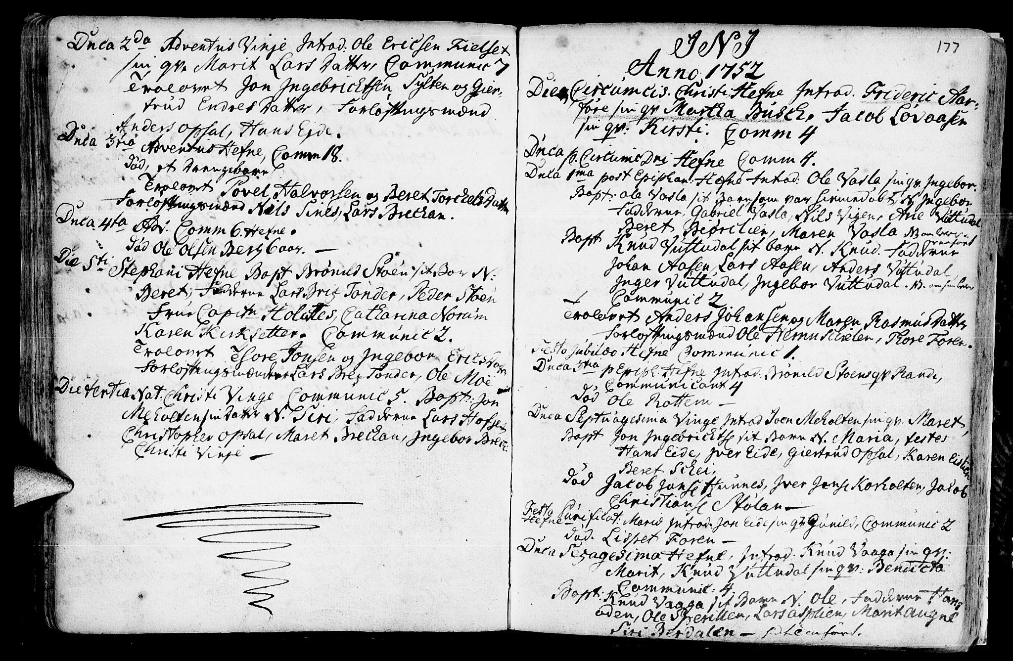 SAT, Ministerialprotokoller, klokkerbøker og fødselsregistre - Sør-Trøndelag, 630/L0488: Ministerialbok nr. 630A01, 1717-1756, s. 176-177