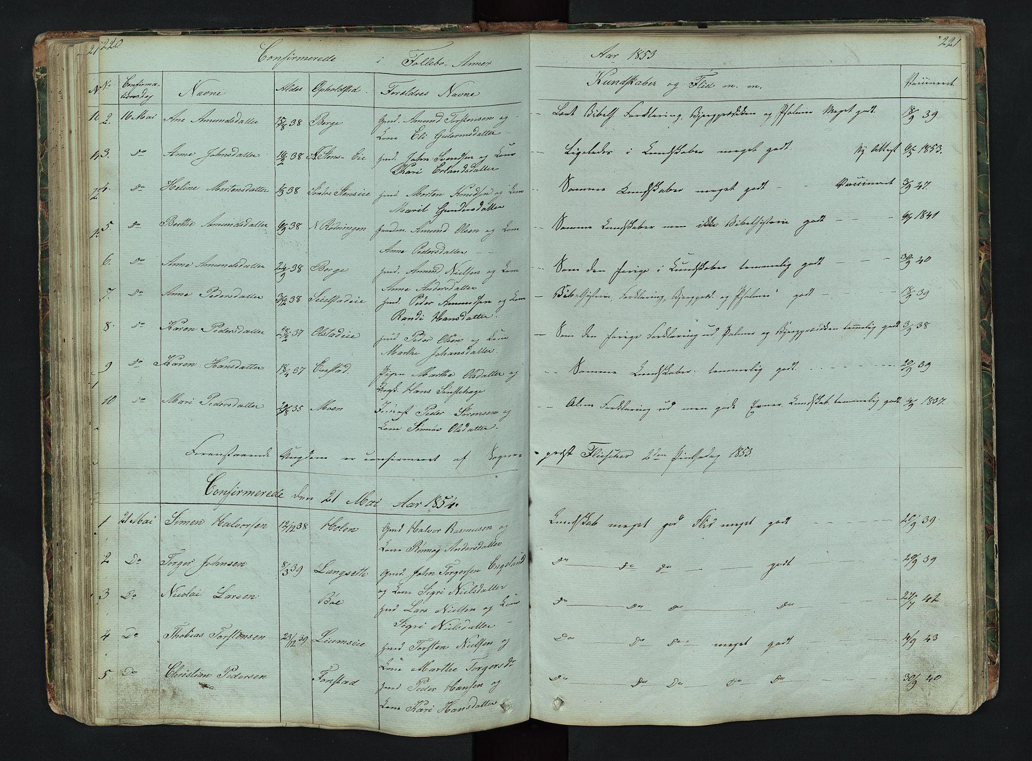 SAH, Gausdal prestekontor, Klokkerbok nr. 6, 1846-1893, s. 220-221